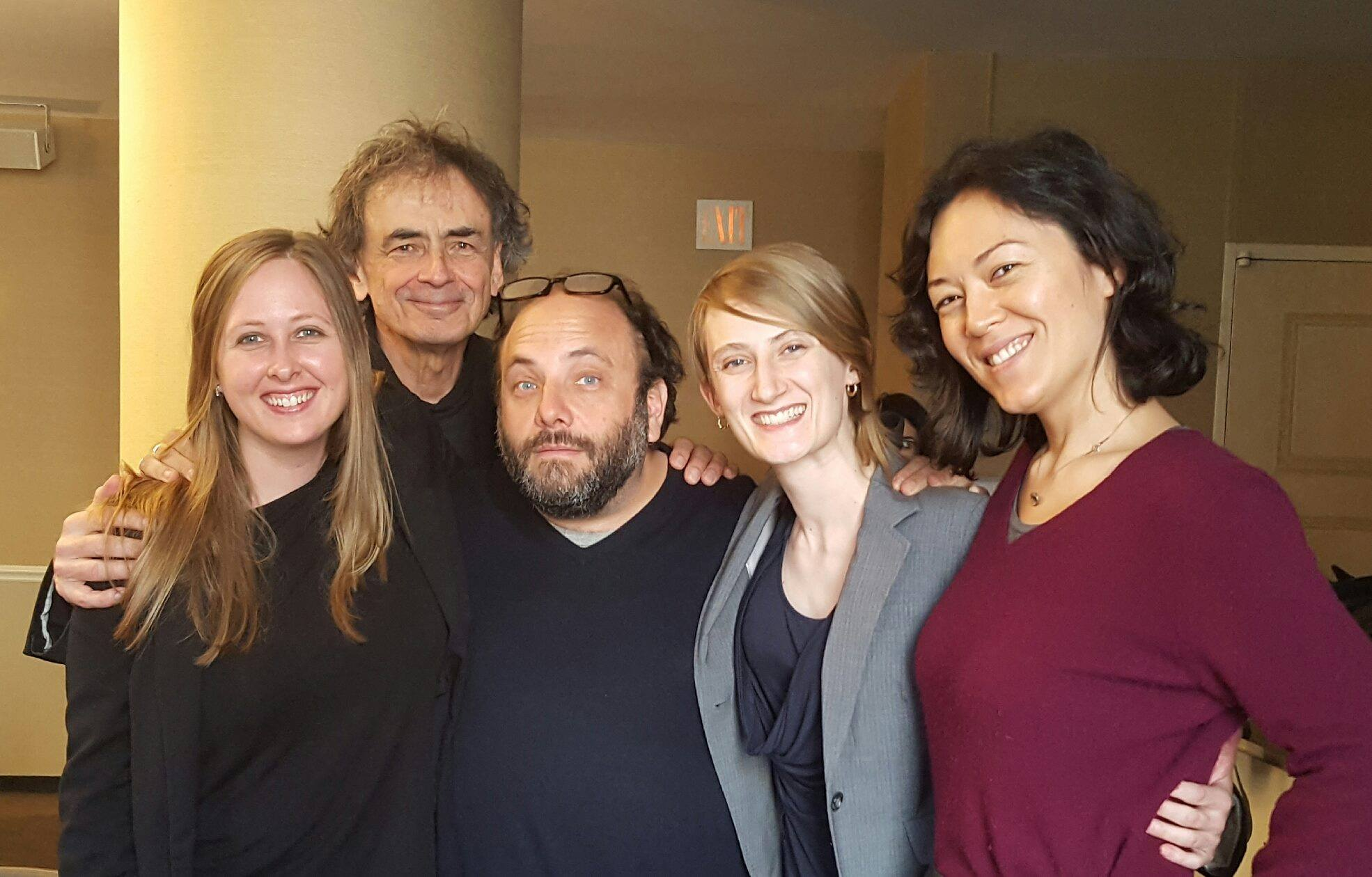The Parhelion Trio after working with the New York Philharmonic Young Composers.  Left to Right: Ashleé Miller, Jon Deak, Daniel Felsenfeld, Andrea Christie, and Sarah Carrier.