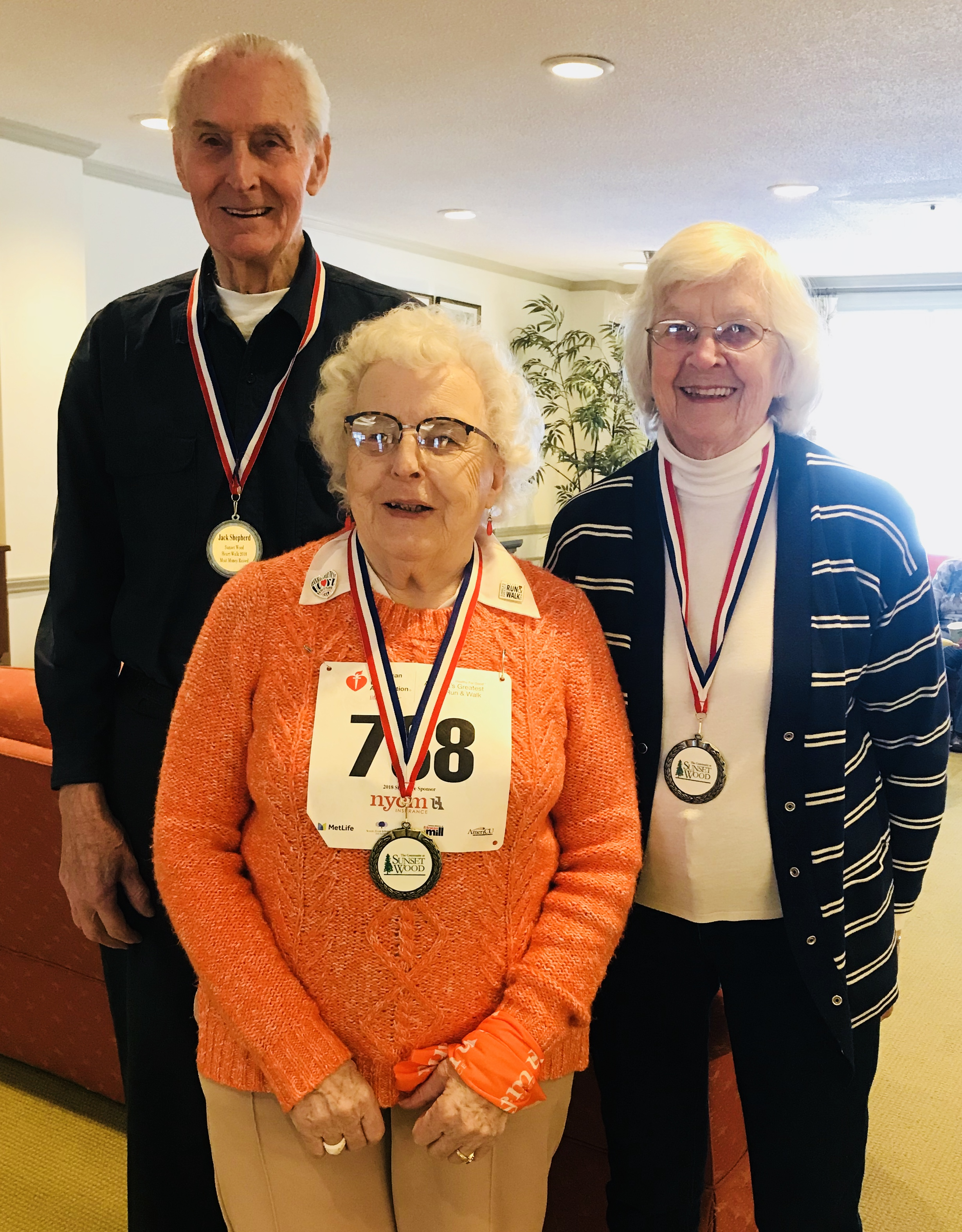 """Our Winners of Sunset Wood's """"Most Money Raised Awards!"""" Eileen Shepherd with $310.00 (Right), Jack Shepherd with $290.00 (Left) and Barbara Munde with $210.00 (Middle)"""