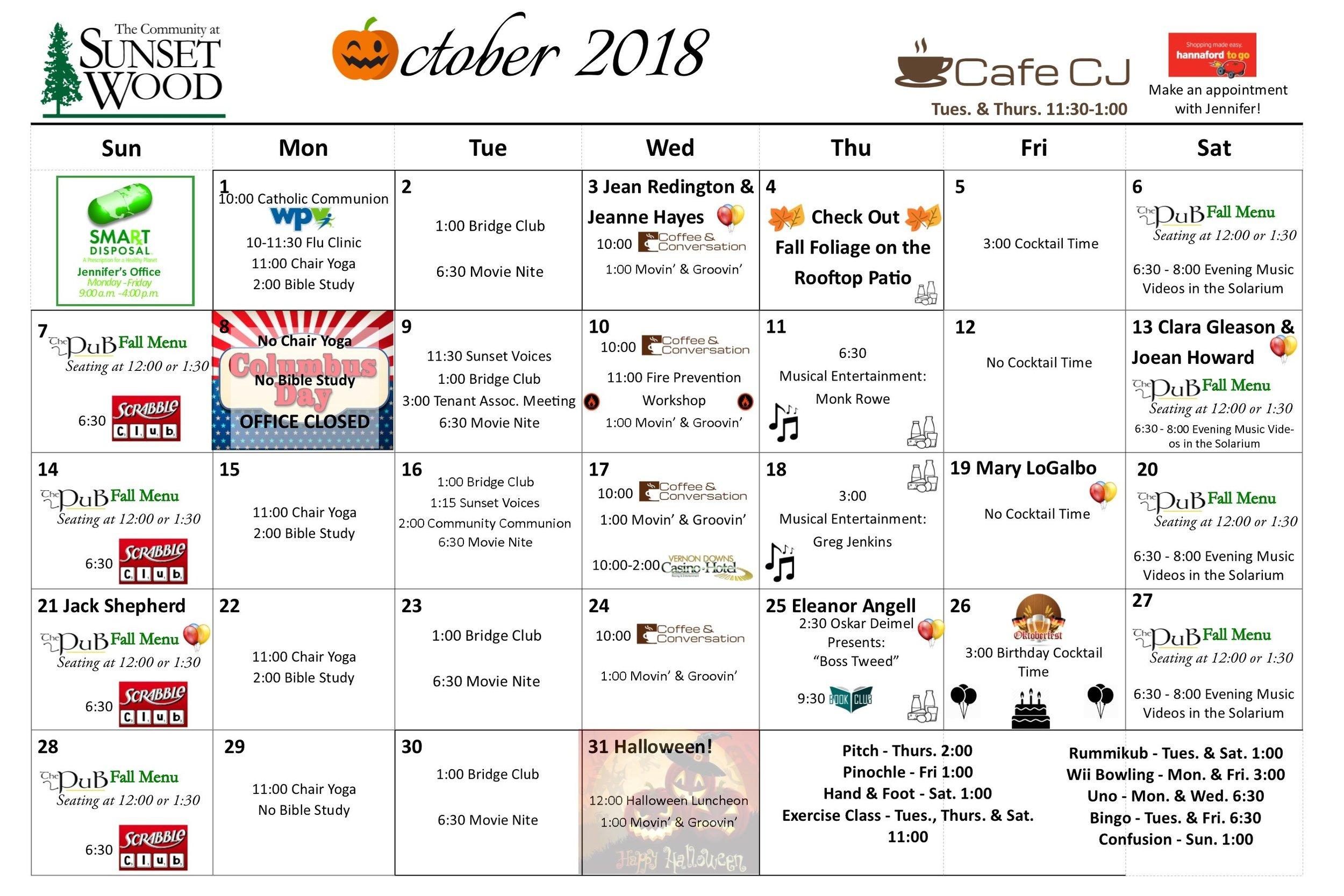October Gazette 2018 - Calendar.jpg