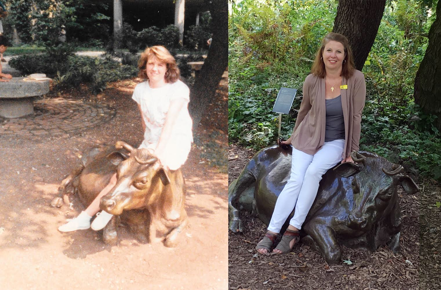 Me on a cow, then and now