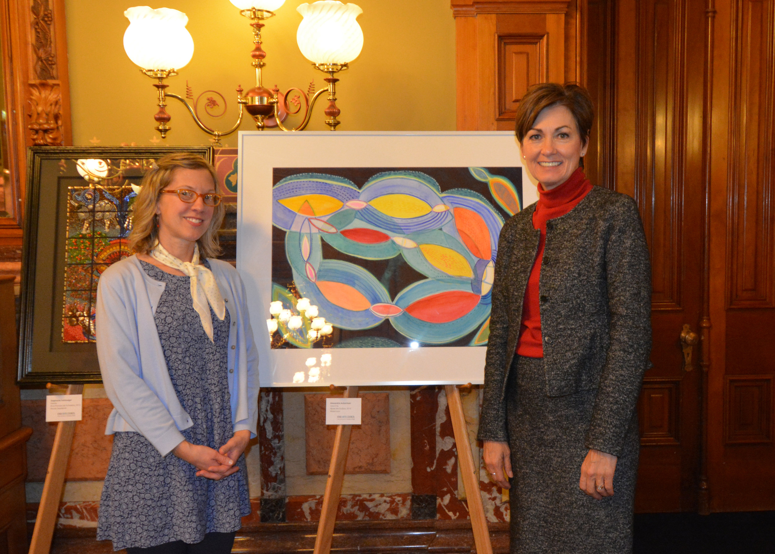 I'm honored to have two watercolors on display at the Capitol in Des Moines until June of 2018! It was wonderful to meet the two other women and discuss our work with Governor Kim Reynolds in her formal office this past week. What an amazing place to show my work!