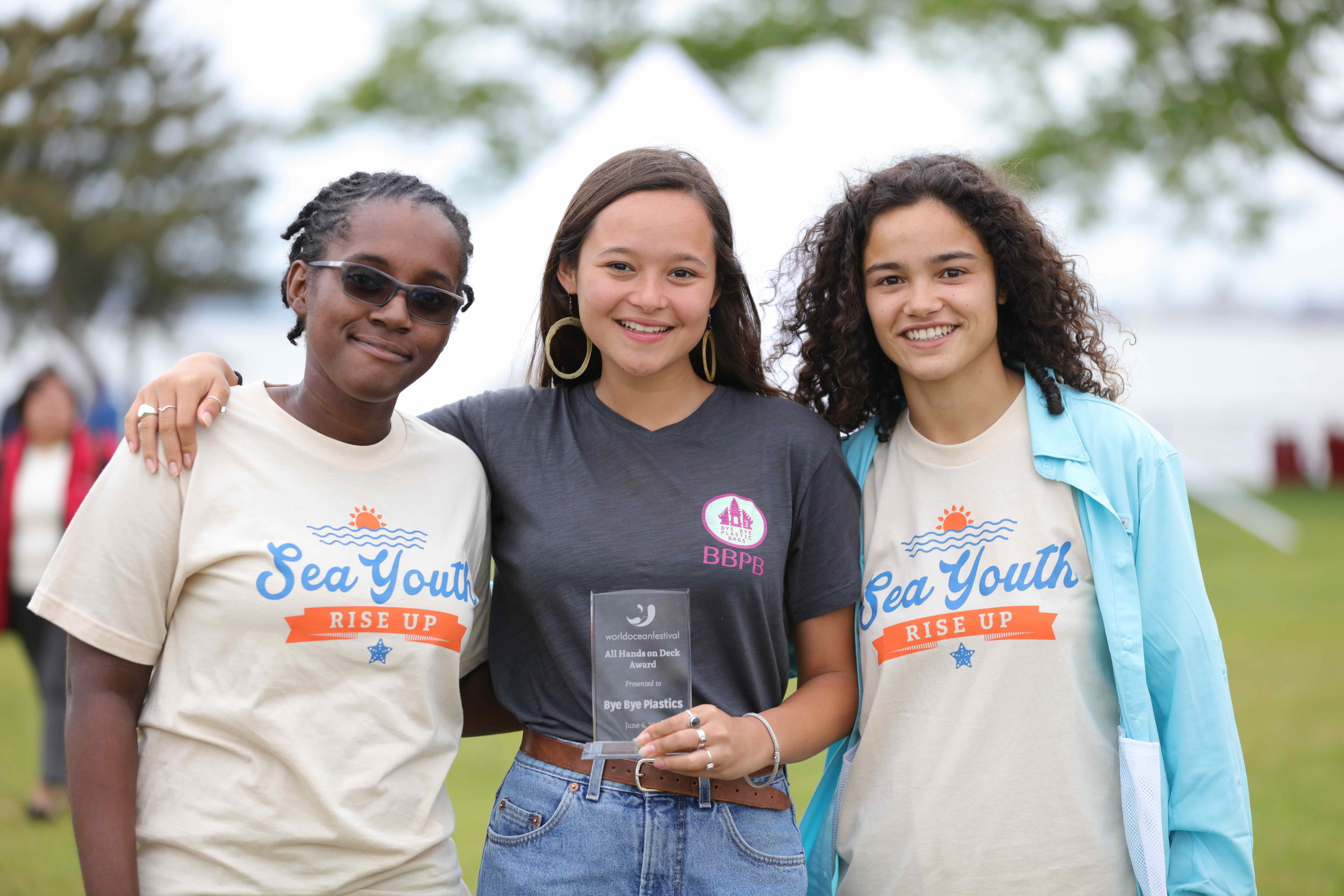 Sea Youth Rise Up International Delegates (from left to right) La Tisha Parkinson (Trinidad & Tobago), Melati Wijsen (Indonesia) and Eugenia Barroca (Portugal) Photo Credit: J. Alexander Clark