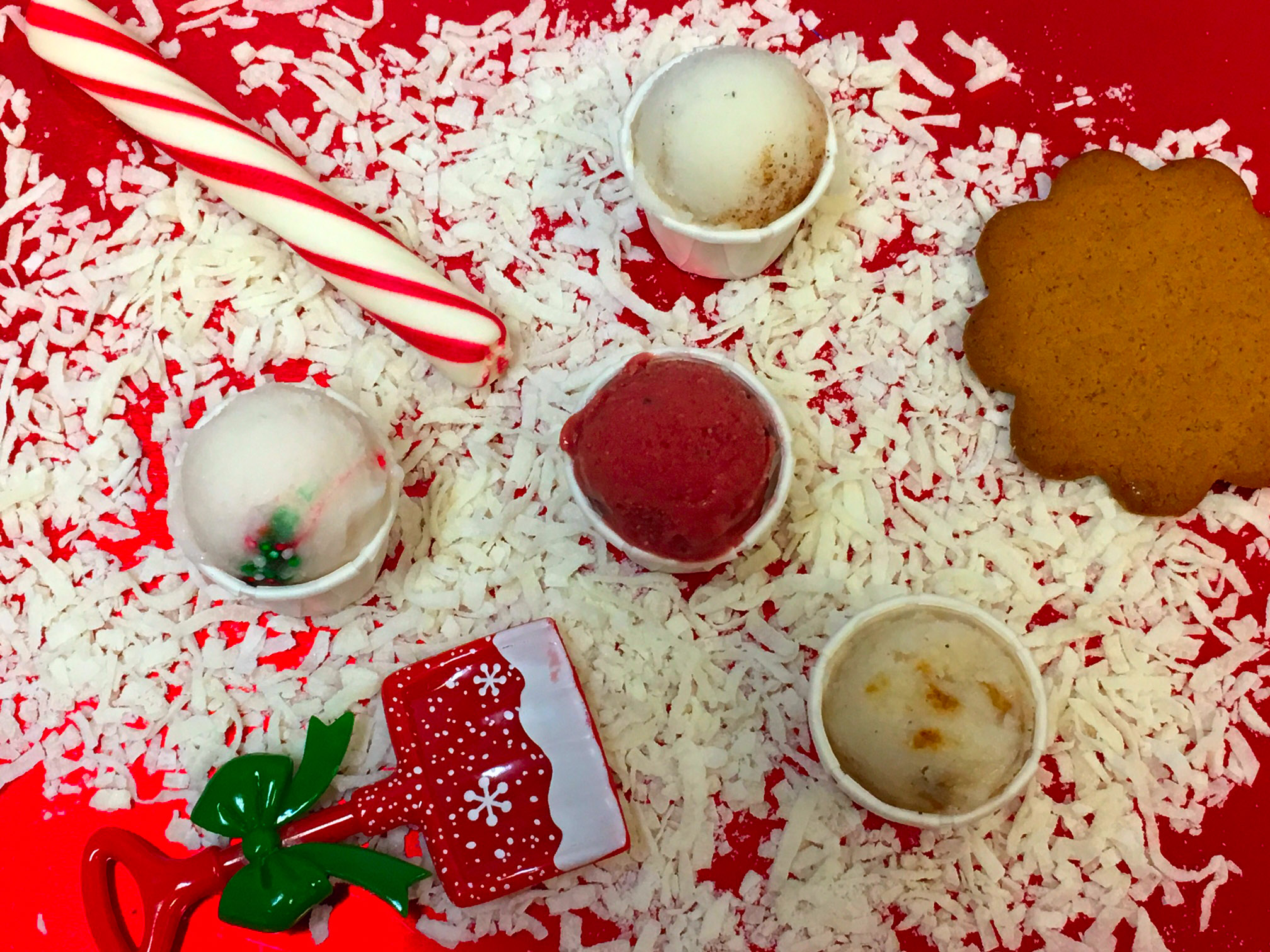 Introducing our Christmas season gelato flavors: Candy Cane, Chocolate Covered Cherry, Egg Nog, and Gingerbread Cookie.
