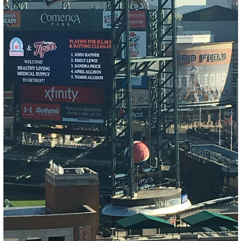 Here's a big welcome to Healthy Living from Comerica Park, our neighbors right across the street!