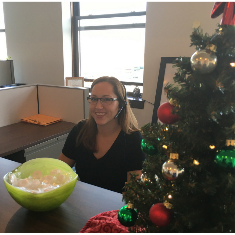 Michelle at the front desk...ready for the holidays and ready to help! :)