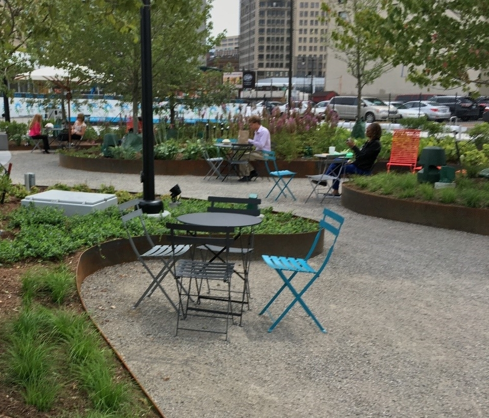 Beacon Park seating & gardens (Photo by Emily Lewis)