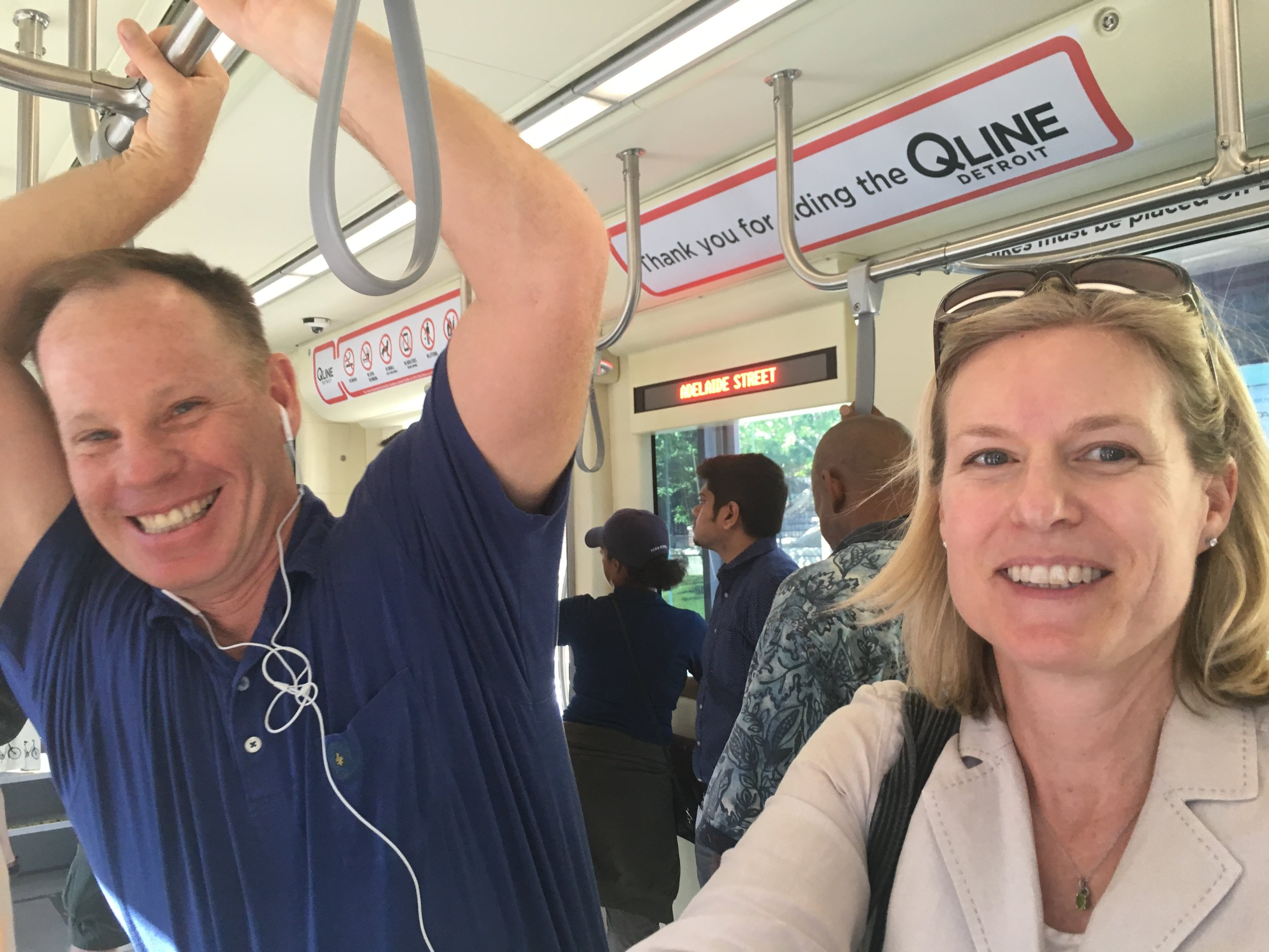 Riding the QLine to an HLMS dinner event.