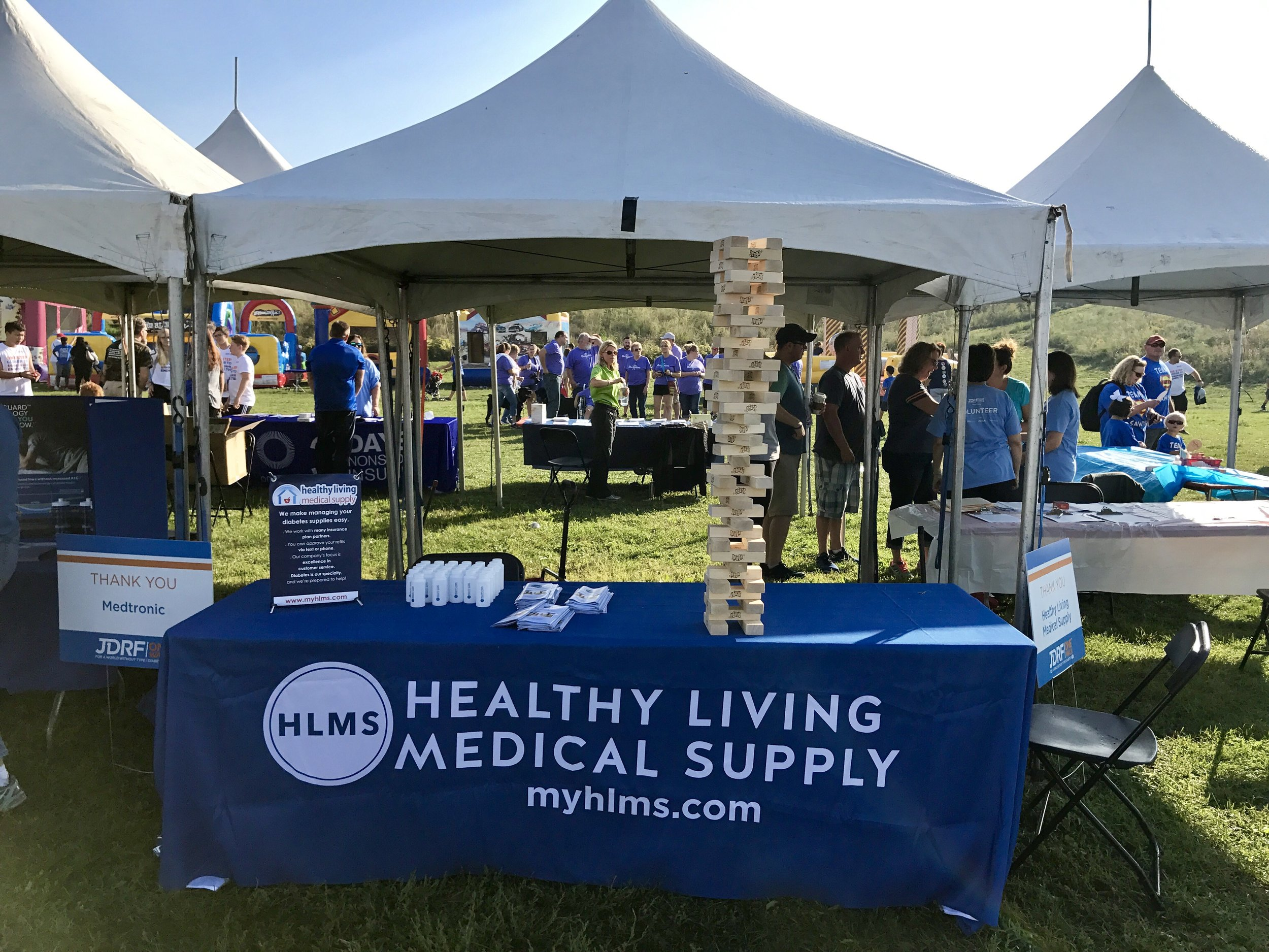 The Healthy Living table at the One Walk...check out the Jenga tower!