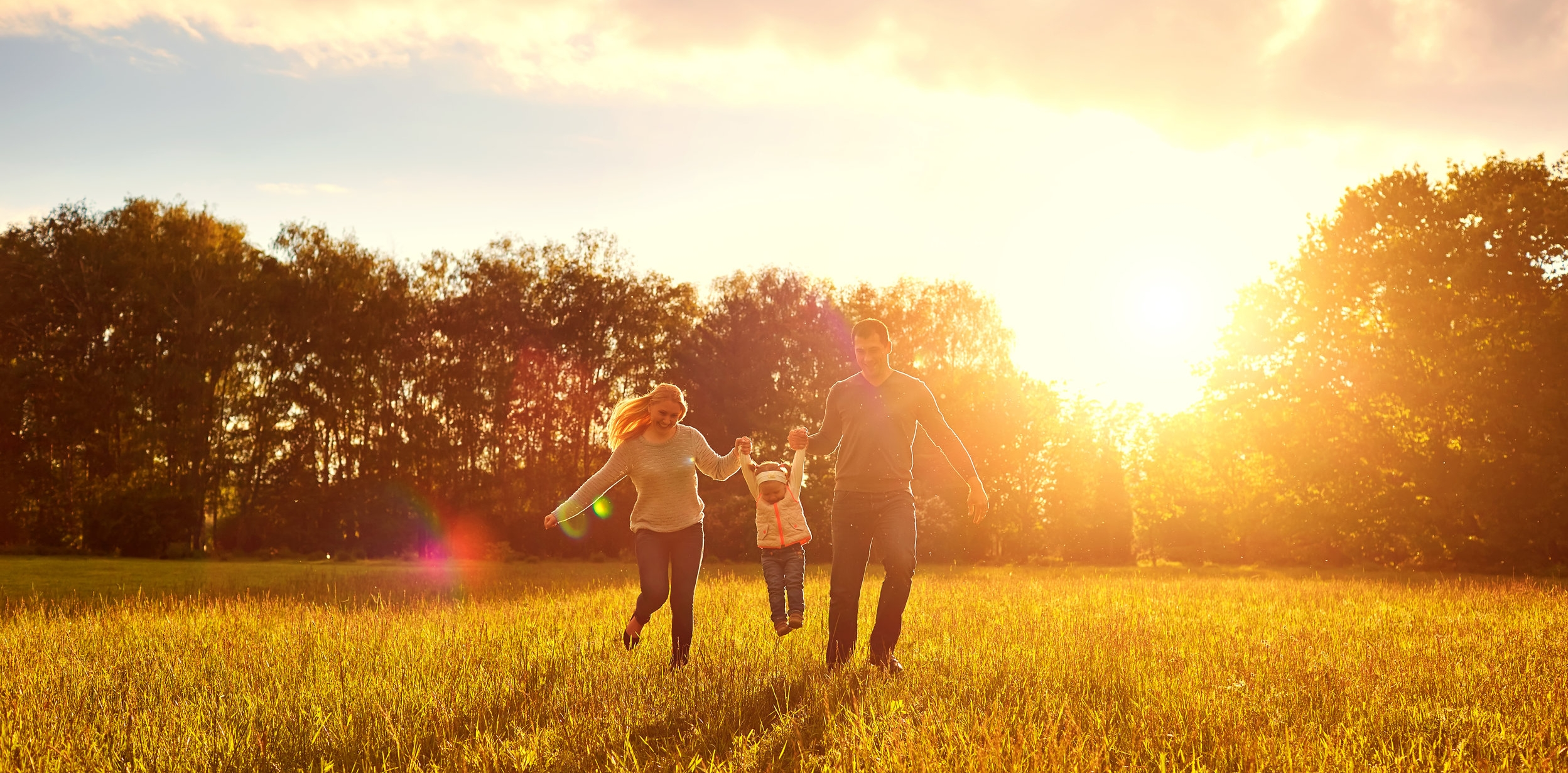 happy family with beautiful sky