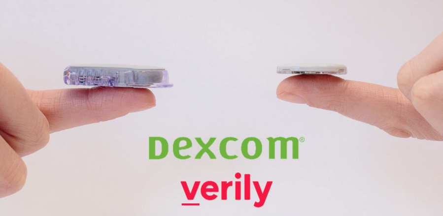 "The sensor on the left is the Dexcom G6 CGM, and the sensor on the right is their new CGM, expected in about two years. This new device was previously described as ""the thinnest CGM ever."""