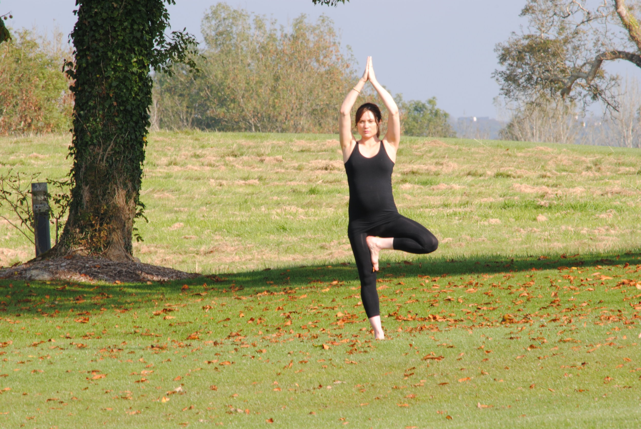 Mindfulness, Yoga & Retreats.  Anna's student, Deirdre, enjoying a private class in Glenlo Abbey Hotel grounds, Galway.