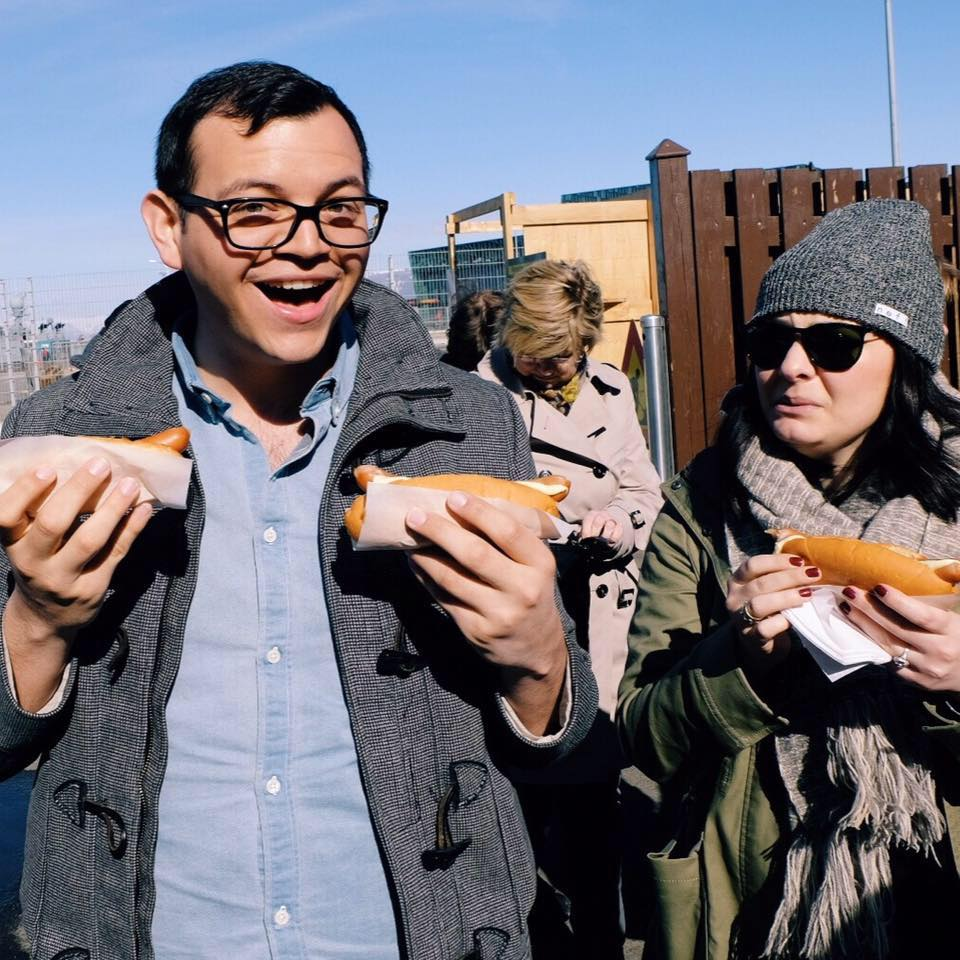 Me in Iceland, about to eat the best hot dogs ever.