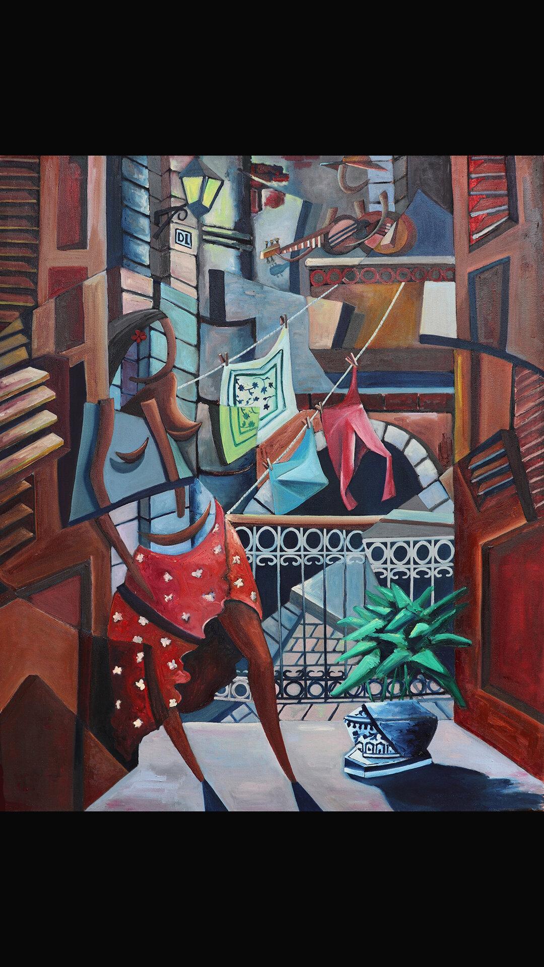 Derwin Leiva_Amor de Balcones_ 2019, Oil on Canvas, 91 x 76 cm  .jpg