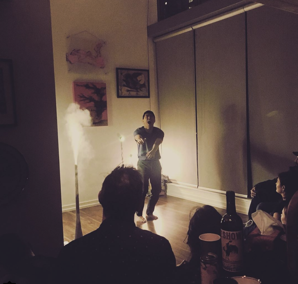"""Choreographer and dancer Naishi Wang performing at """"Alone Together Showcase"""" hosted by Kamilla Nikolaev in her downtown loft."""
