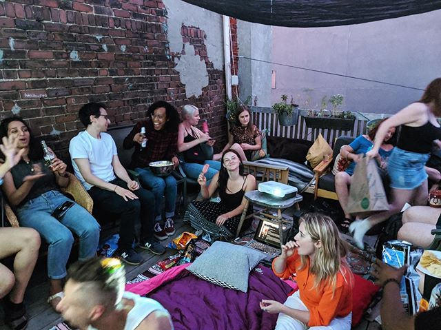 Artery 🎥 🍿 Showcase. Hosted  by Jenny & Yas' on their dream roof-patio in Ken Market. A perfect neighbourhood summer night. #everyspaceisastage #arteryto #arteryfilms #arteryscreening #community