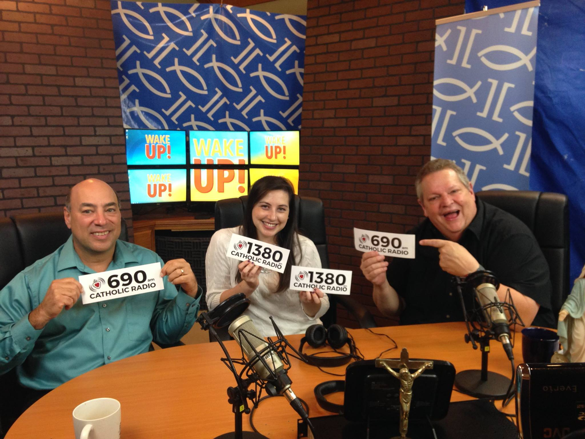 Johnny, Gaby, and Jeff are always ready to remind you where your radio dial should point!