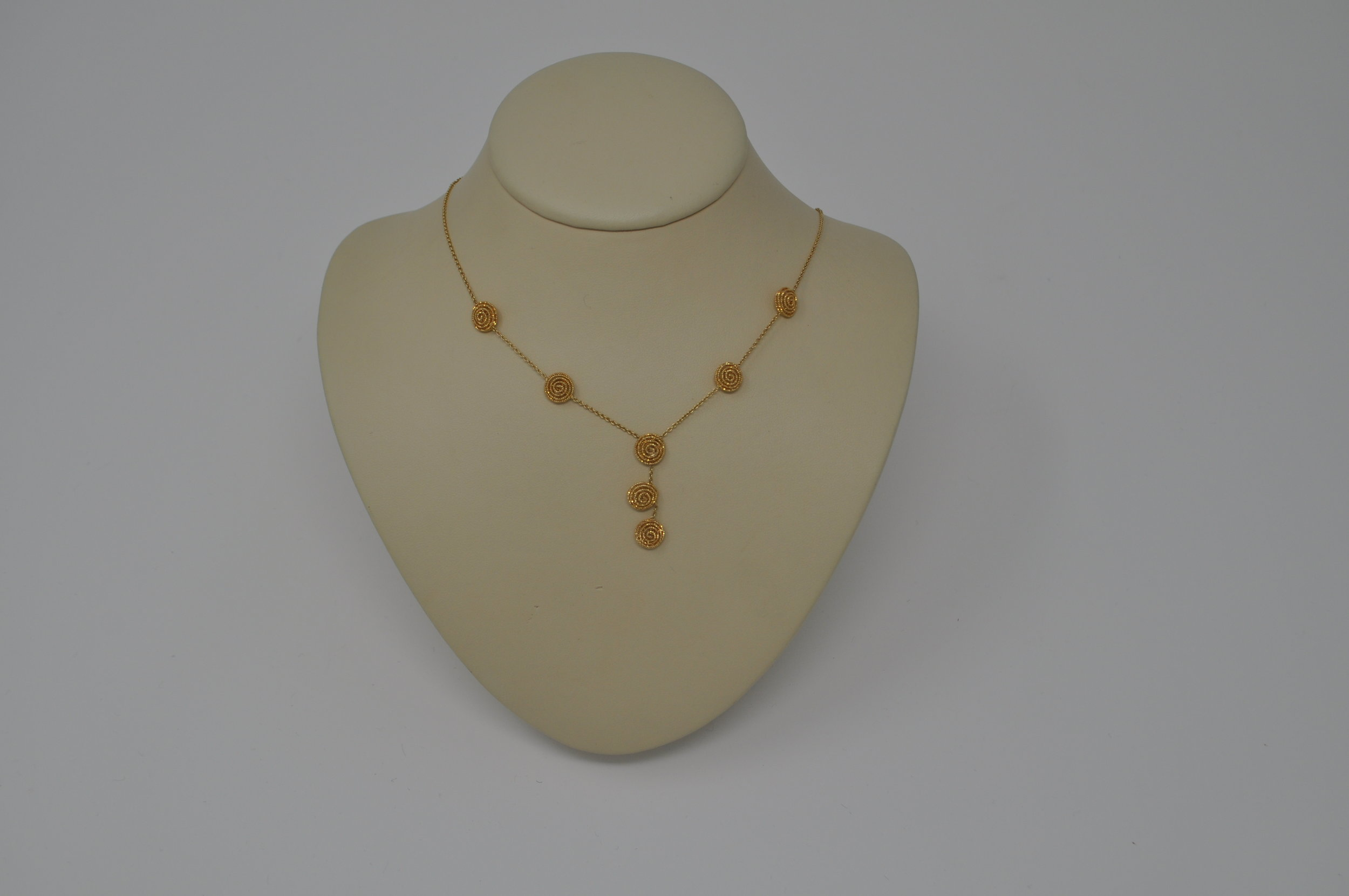 Necklace-Designed by Joseph Aviv this 14k gold necklace retail $1035.00    Saunders Lux Jeweler 7809 Jeffereson Hwy, Suite B-5 (in Bocage Village Shopping Center across from the entrance to Bocage Neighborhood).