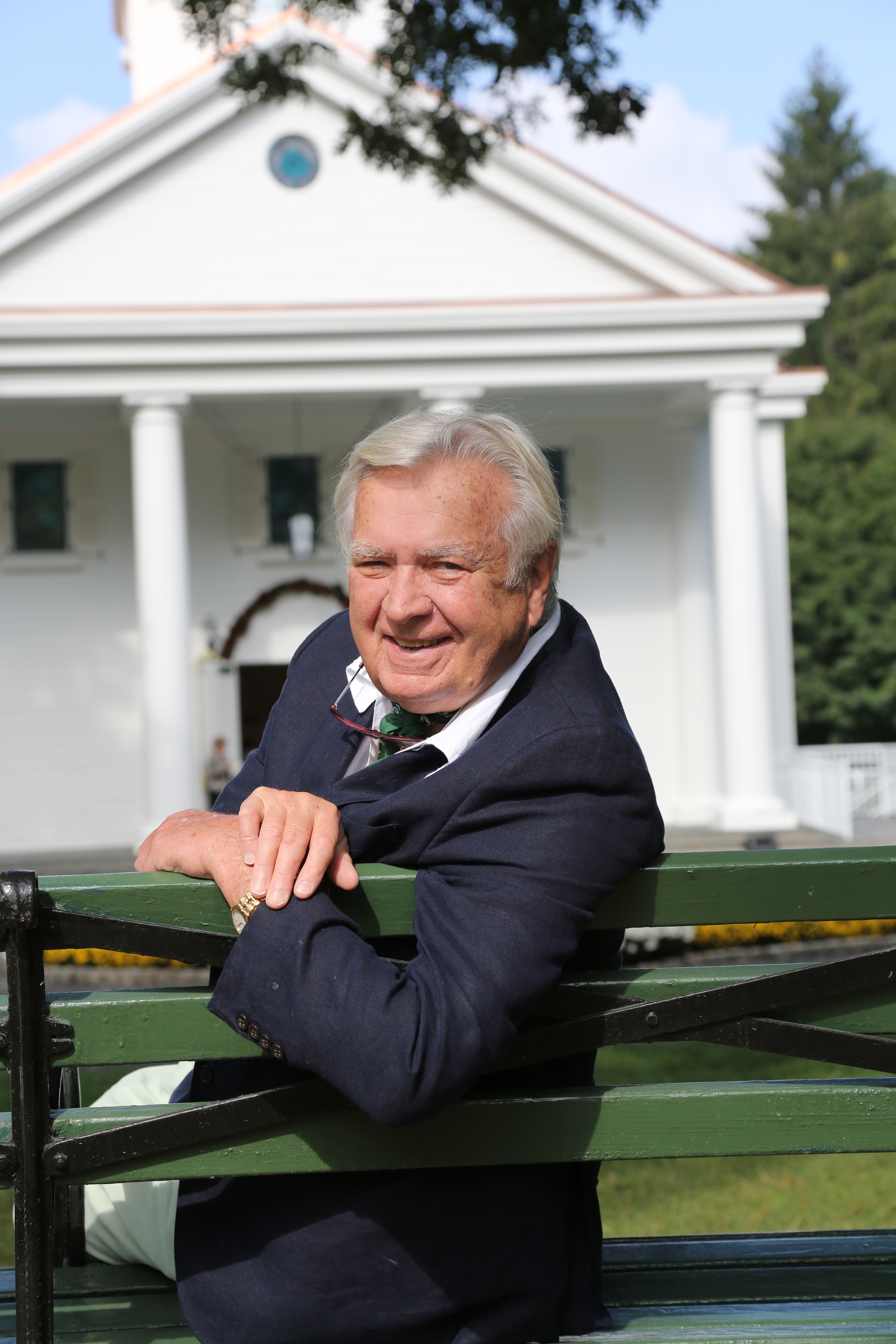 Carleton Varney in front of The Greenbrier Chapel. Photo by Mike Wyatt of Greenbrier Photo.