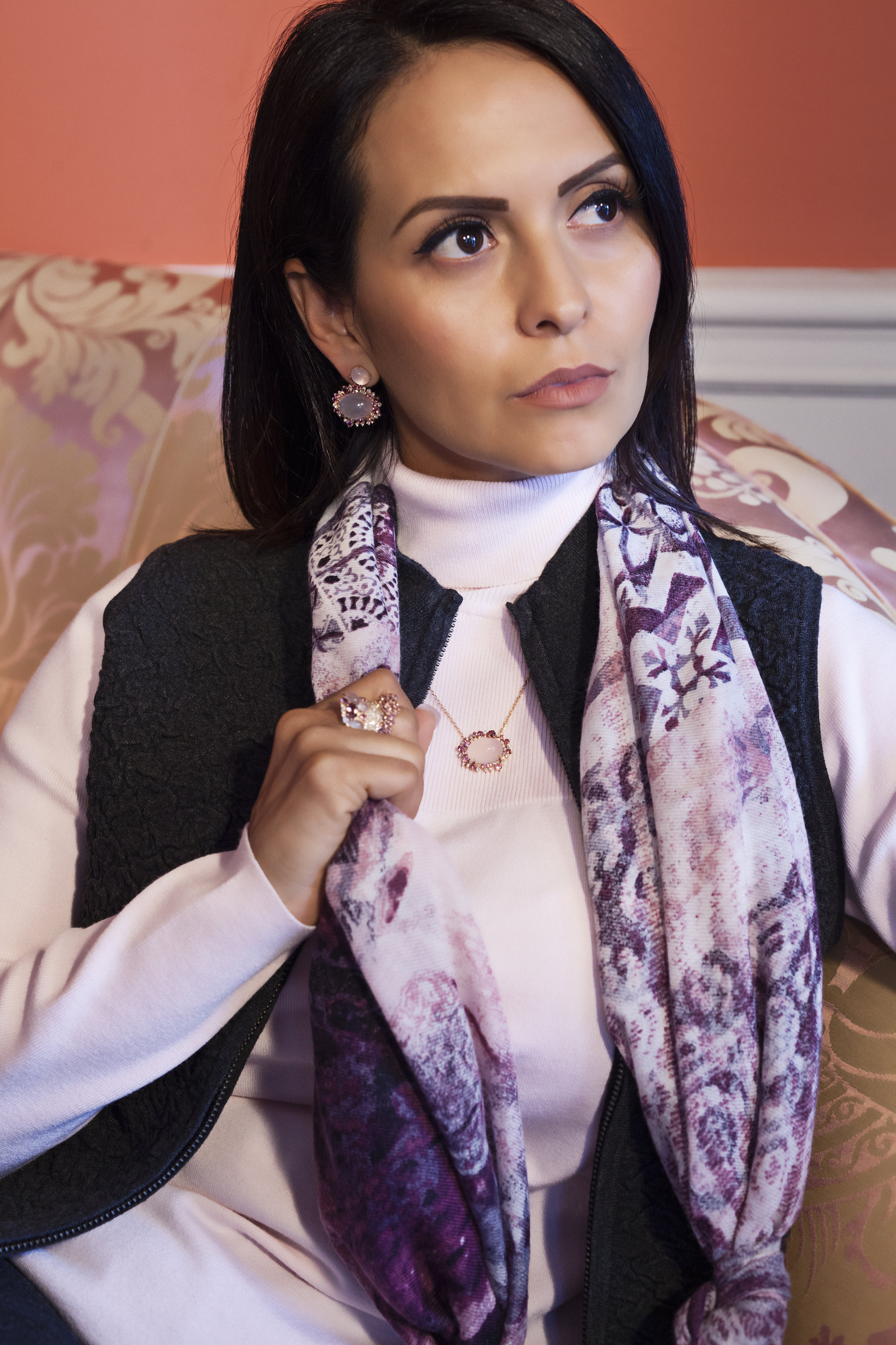 Jewelry: Brumani Baobab Collection -  Diamond, Rose Quartz, Pink Tourmaline in 18k Rose Gold: Earrings - $9,838, Necklace - $4,385, Cocktail Ring - $11,345  -Greenbrier Avenue jeweler