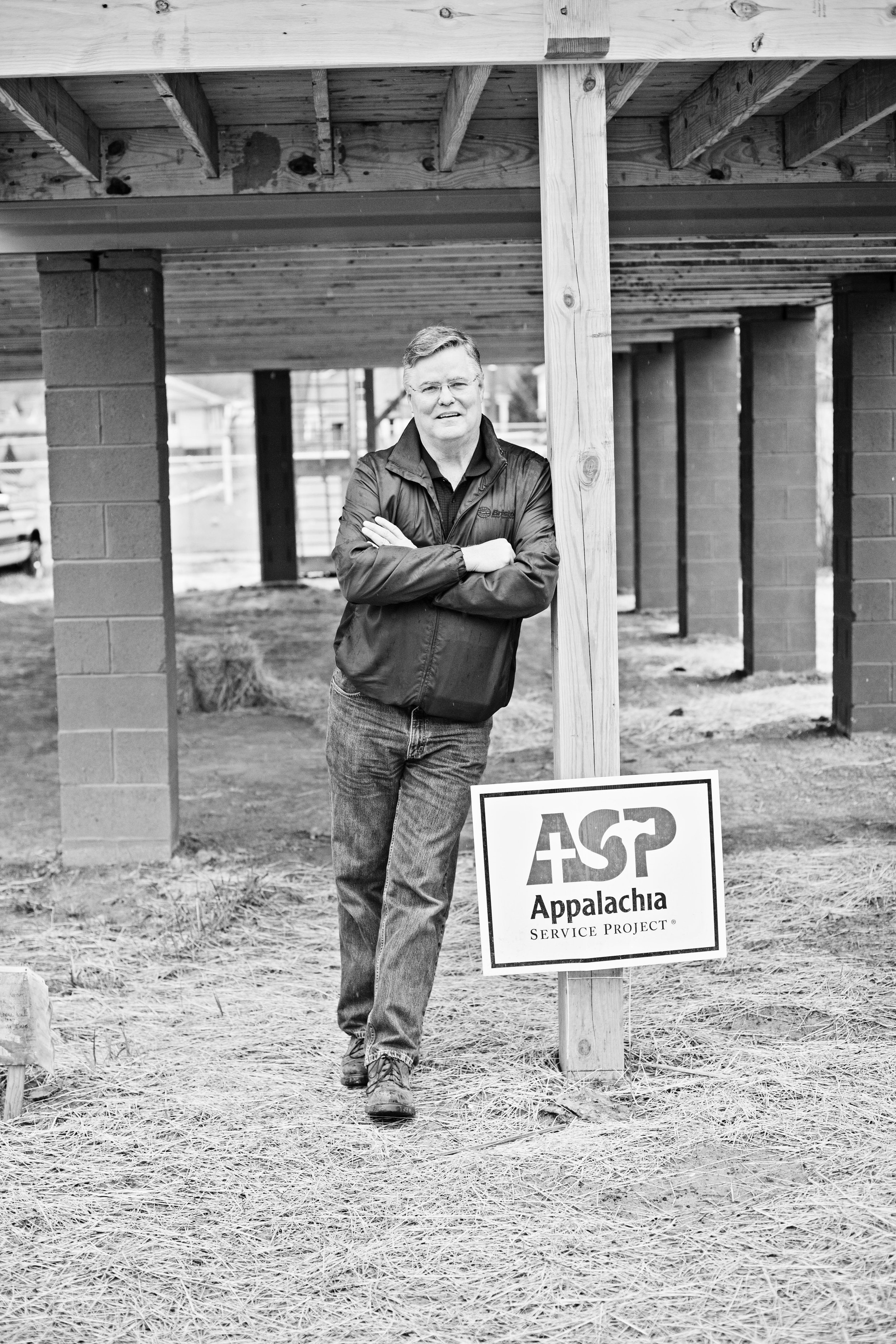 """52 - Walter Crouch, President and CEO of Appalachia Service Project (ASP), has been a leading force in the rebuilding of Rainelle over the past year, having already put 23 homes under roof since the flood, and another 29 ready to go, bringing the total to 52 homes. Since 1969, ASP has brought thousands of volunteers from around the country to rural Central Appalachia to repair homes for low-income families, making them """"warmer, safer, and drier."""""""