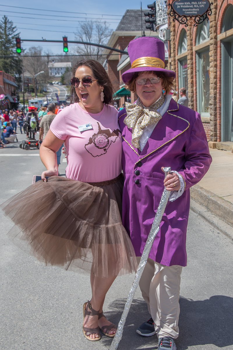 As Willy Wonka for the Lewisburg Chocolate Festival, with United Way Executive Director Erin Hurst.