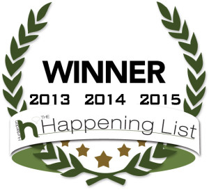 Winner of The Happening List in 2013, 2014, & 2015