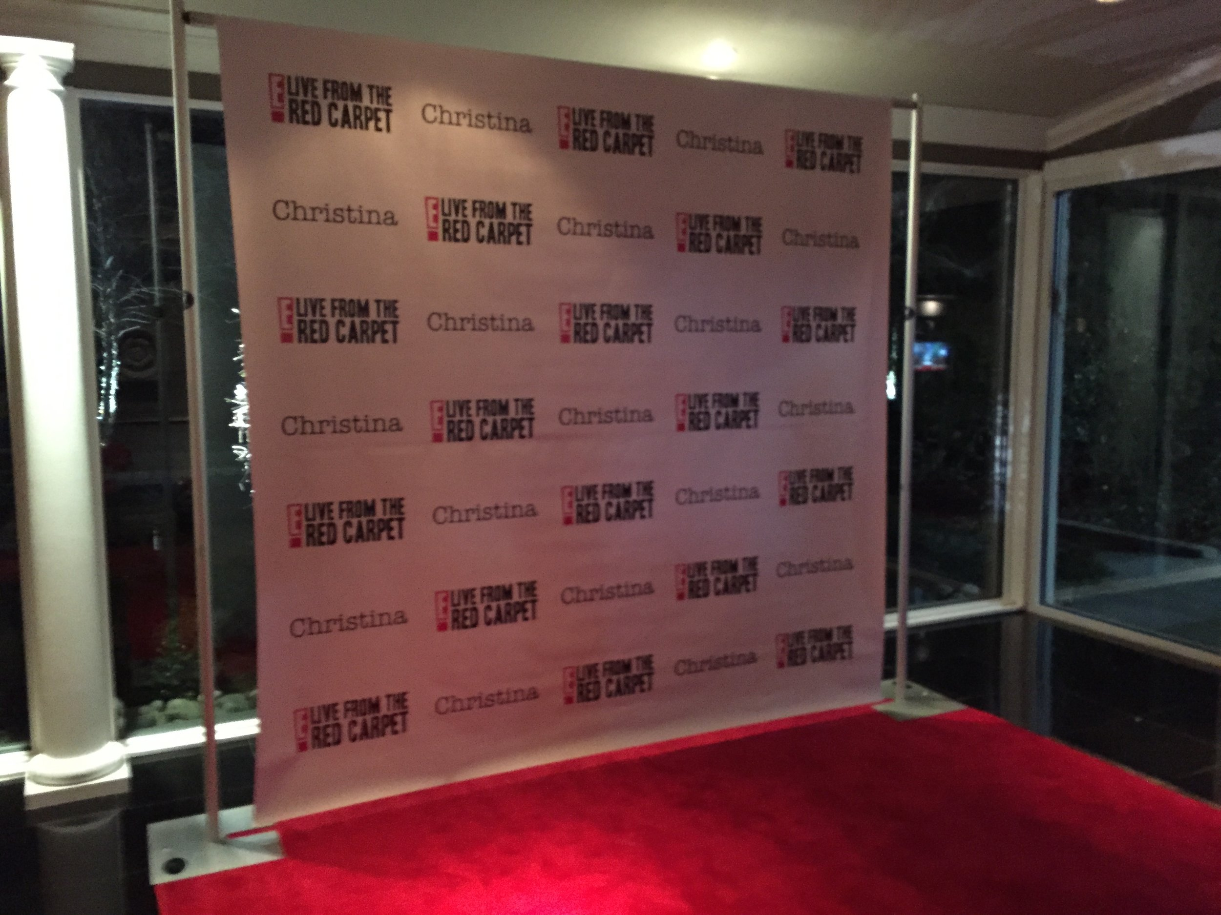 Custom Step and Repeat - We will print you a Hollywood Style backdrop with a logo we make just for your event.You get to take this home with you after the event! We print your custom 10ft by 8ft backdrop on cloth, so it can be reused for subsequent events!