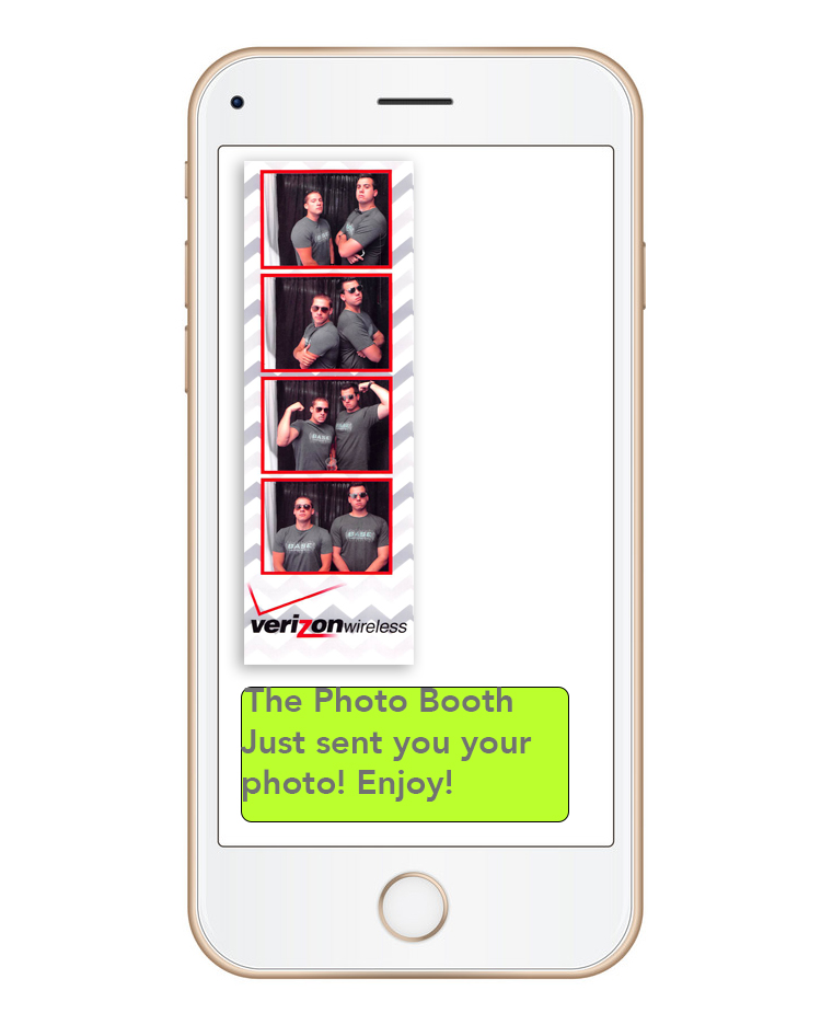 Free Photo To Phone Texting - Your guests can send their photos straight to their phones via text and share with their friends!