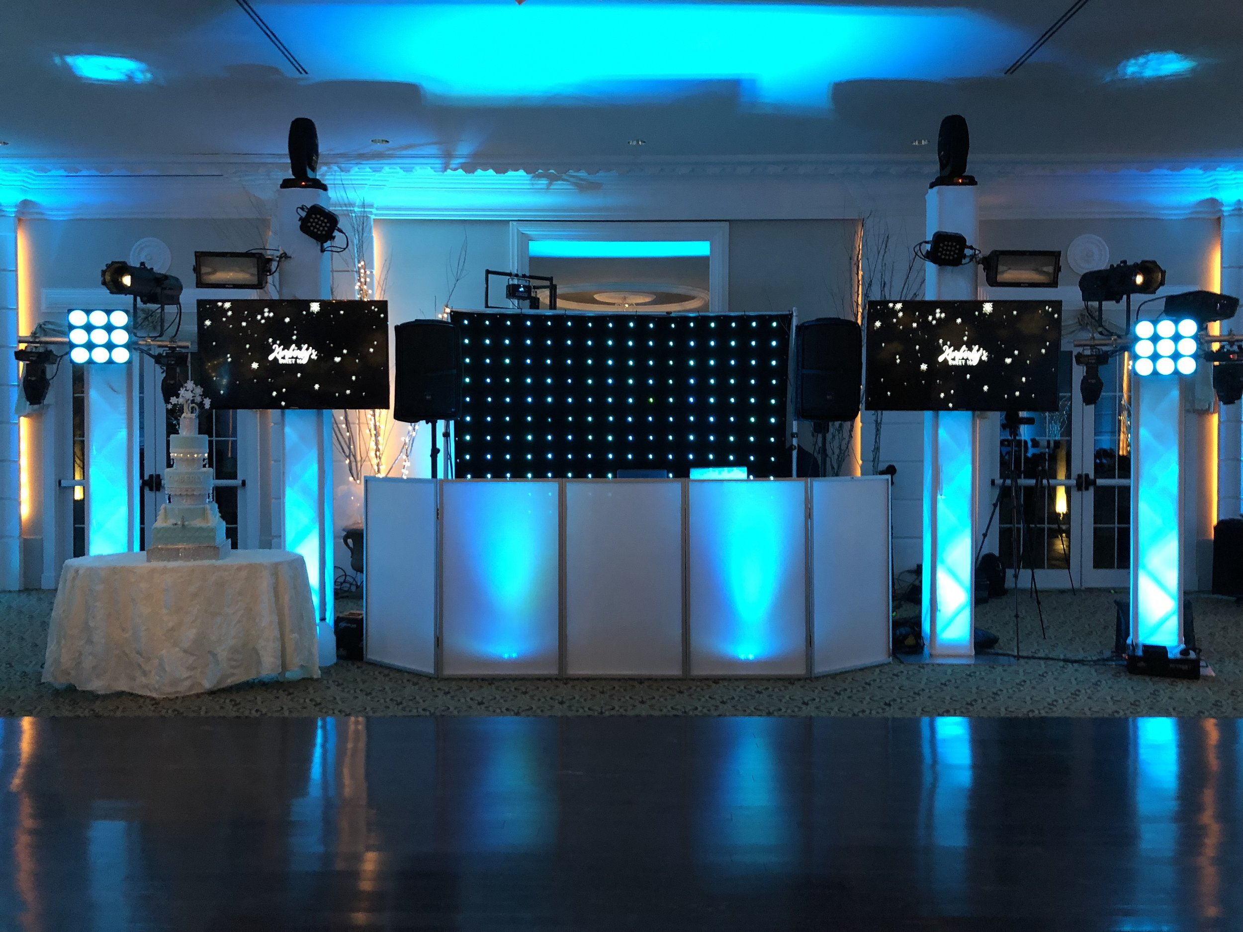 """TV Screens $495 - Add Two 60"""" TV Screens to your DJ Setup and display your personalized monogram and photo slideshows throughout the night."""