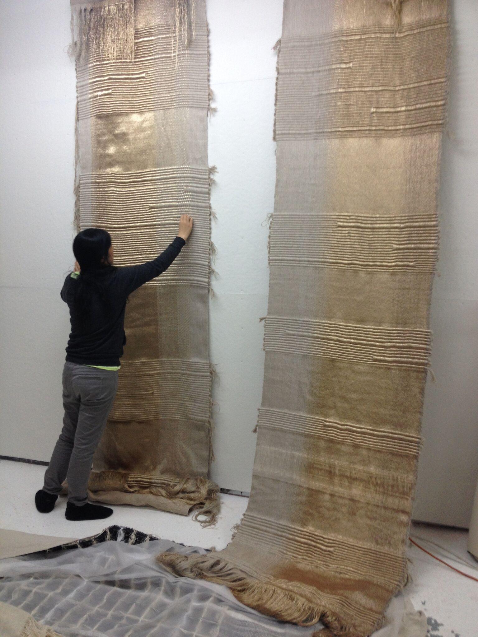 Apollo, Hiroko Takeda, 2015, NY Studio, 192%22h x 36%22w, mixed natural & metallic 1.jpg