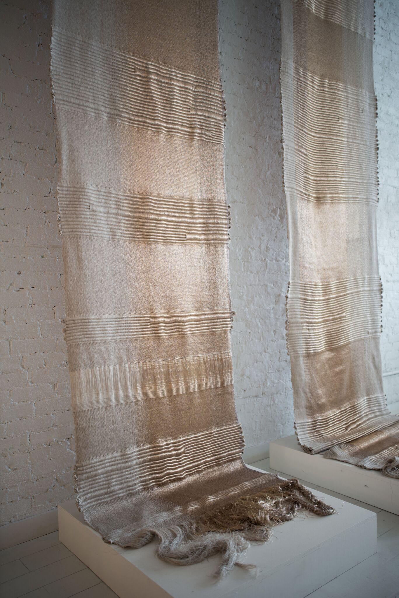 Apollo, Hiroko Takeda, 2015, NY Studio, 192%22h x 36%22w, mixed natural & metallic 2.jpg