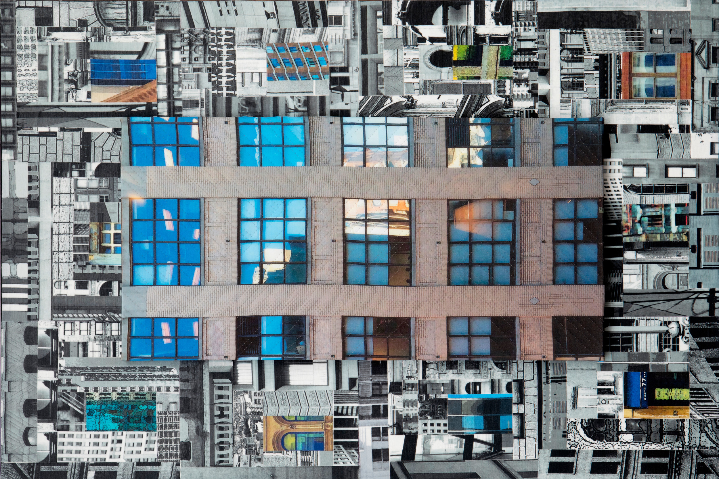 """Marilyn Henrion, """"Patchwork City 28"""", 36""""x24"""""""