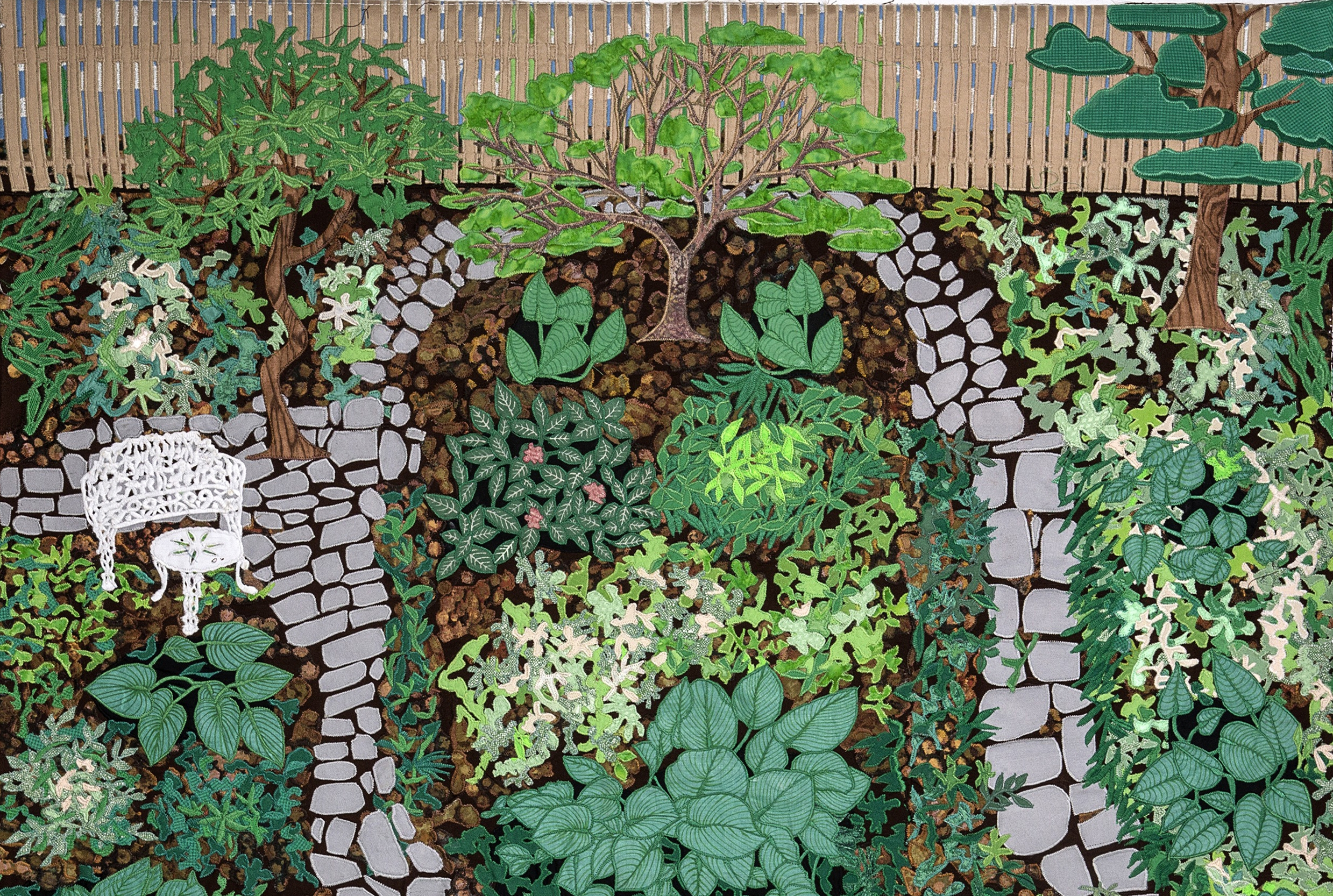 """Margaret Cusack, """"Behold the Hostas in Our Backyard"""", 36""""x36'"""