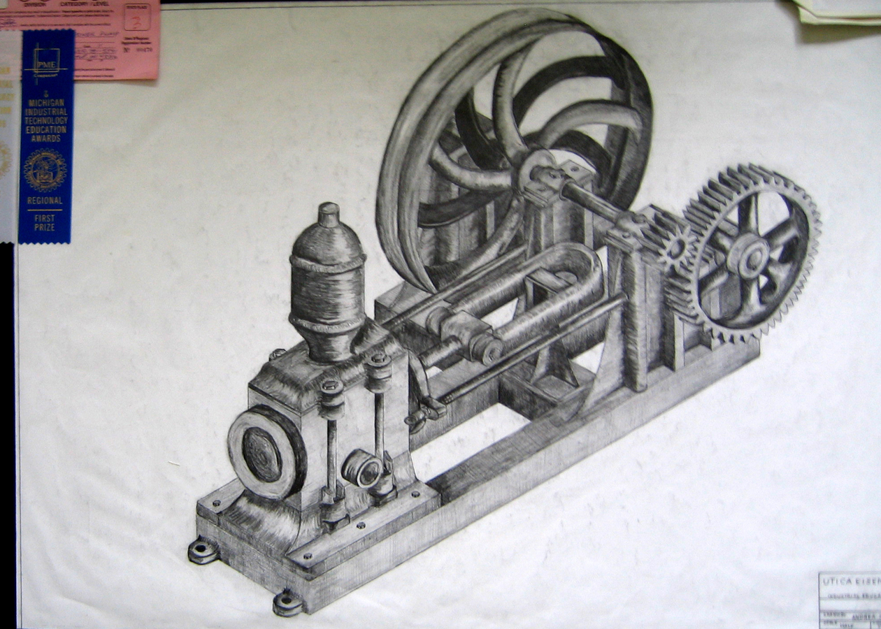 C - Isometric Pencil Drawing from Drafting -2002.JPG