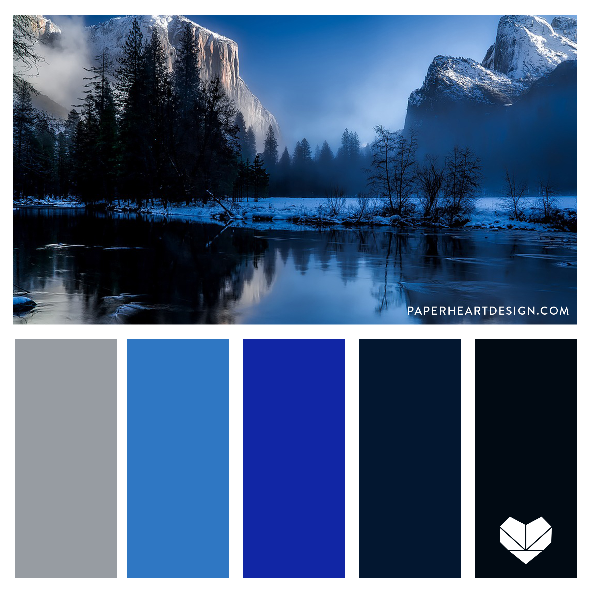 Monochromatic Blue Color Palette. Winter shades of blue.