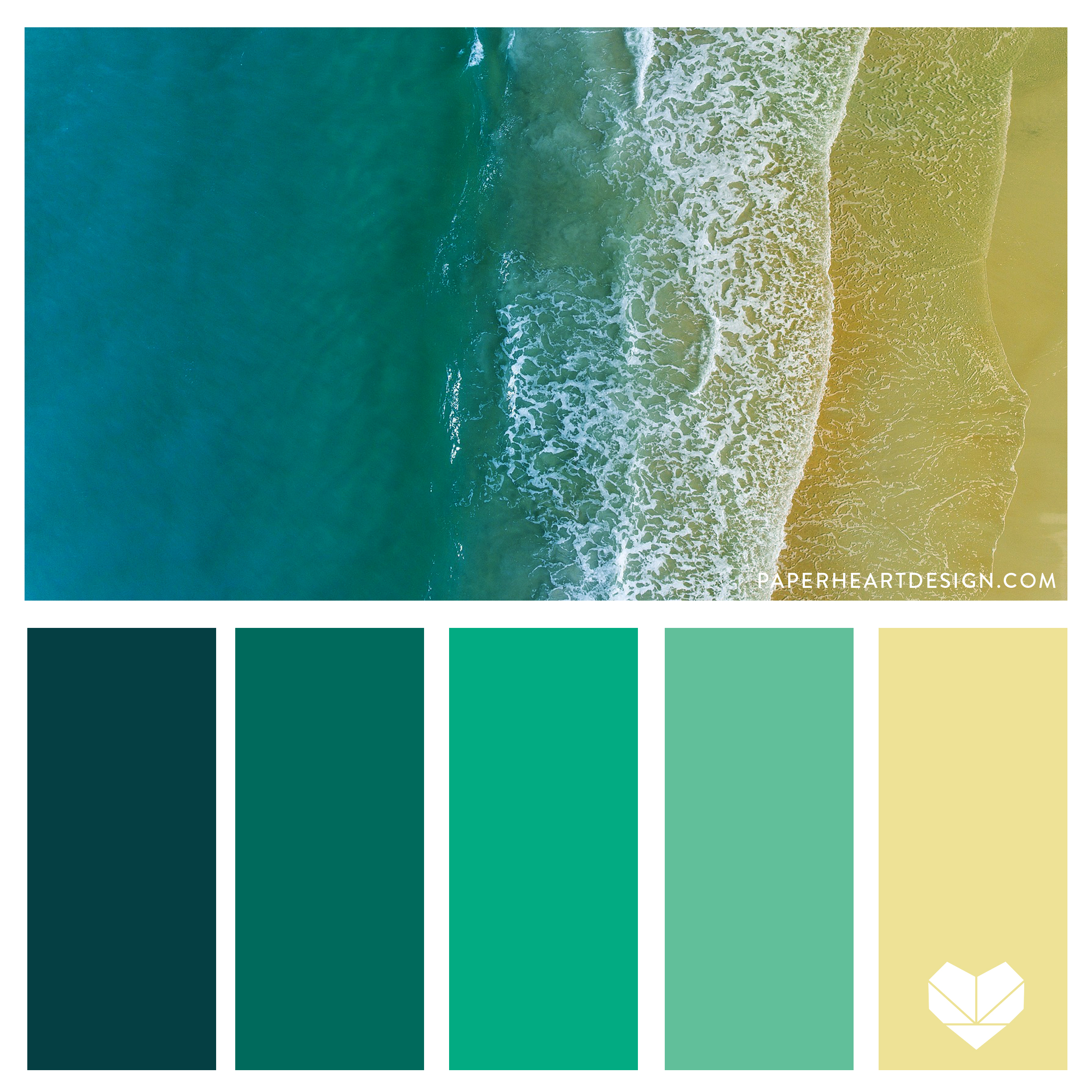 Sand + Surf Jewel tone Color Palette. Teal, Mint, Aqua, Tan. Bold + Elegant.