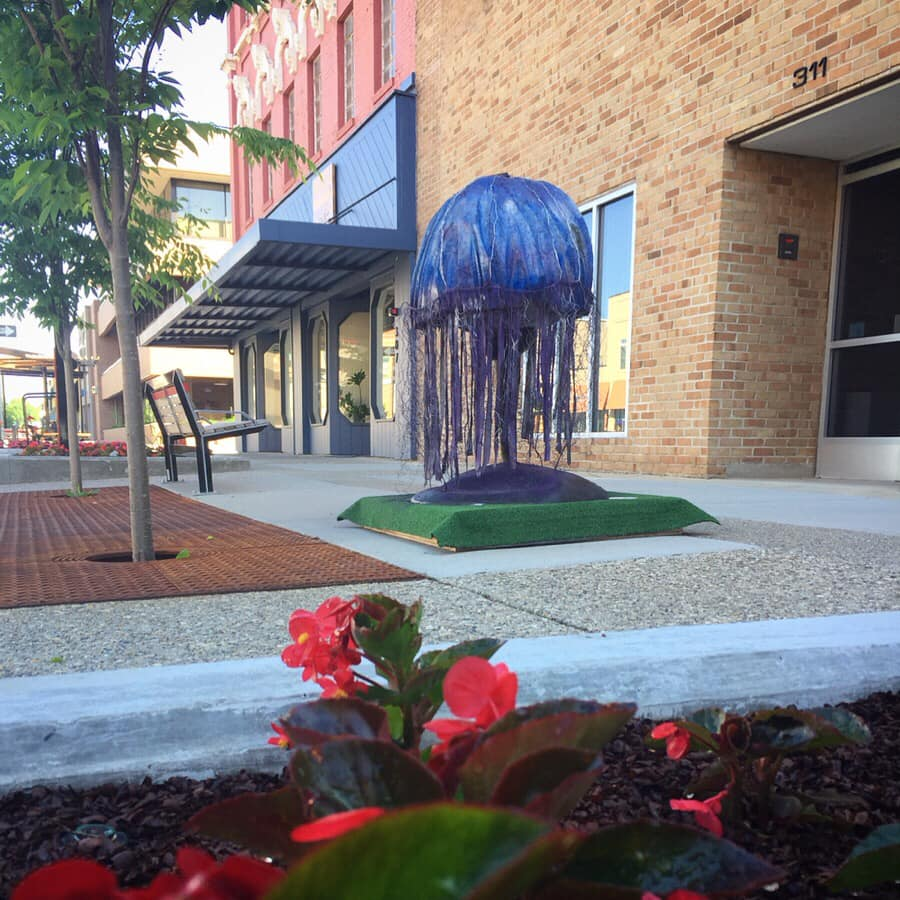 """06.2019-09-2019 // Summer Sculpture Series, Tee'd Up Downtown - Midland, MIAequorea is a large scale jellyfish sculpture. It was built out of a metal armature, concrete, and fabric, enveloping a 20""""diameter fiberglass golf ball sculpture. It was finished with acrylic gel medium, spray foam, and spray paint, then poly-coated. It also features a small solar panel connected to LED lights, which allow it to glow purple at night. It was on outdoor display in downtown in front of the Chemical Bank on Main Street."""