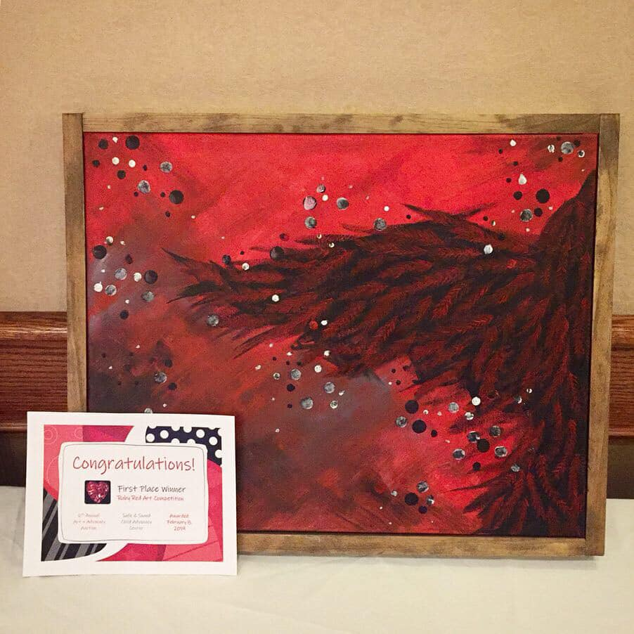 """02.2019 // Safe & Sound Child Advocacy Center's Art + Advocacy Auction - Midland, MIAscend was the first place winner at a live painting fundraising event for Safe & Sound CAC. Artists were limited to using only the color red, along with its tints and shades, and only had one hour to complete their piece. This 18x24"""" painting was created using acrylic paints, and has a custom wood frame. It was auctioned at the end of the fundraising event."""