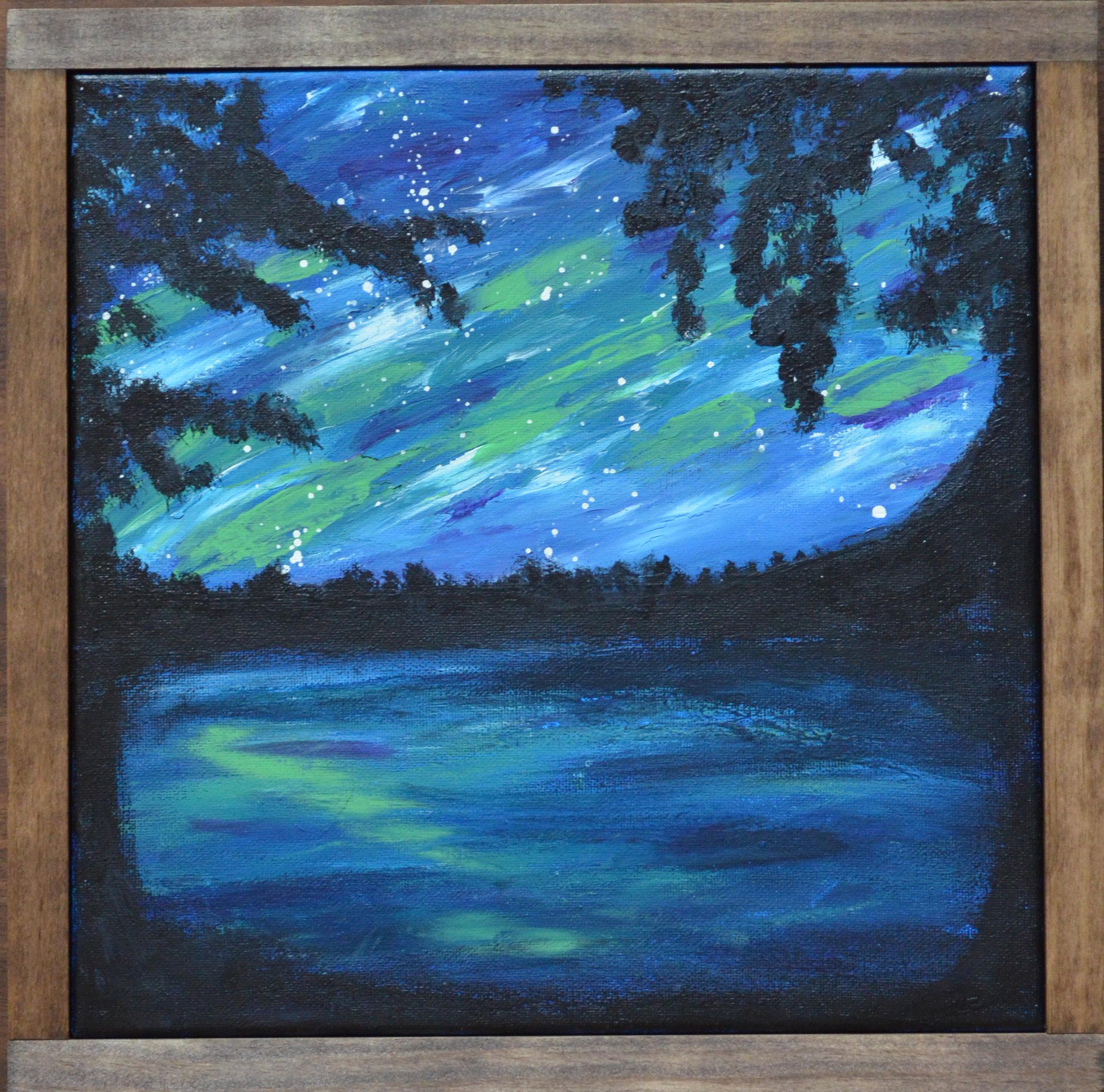 "Aurora - 2018acrylic paint12x12"" canvaswood frameSOLD"