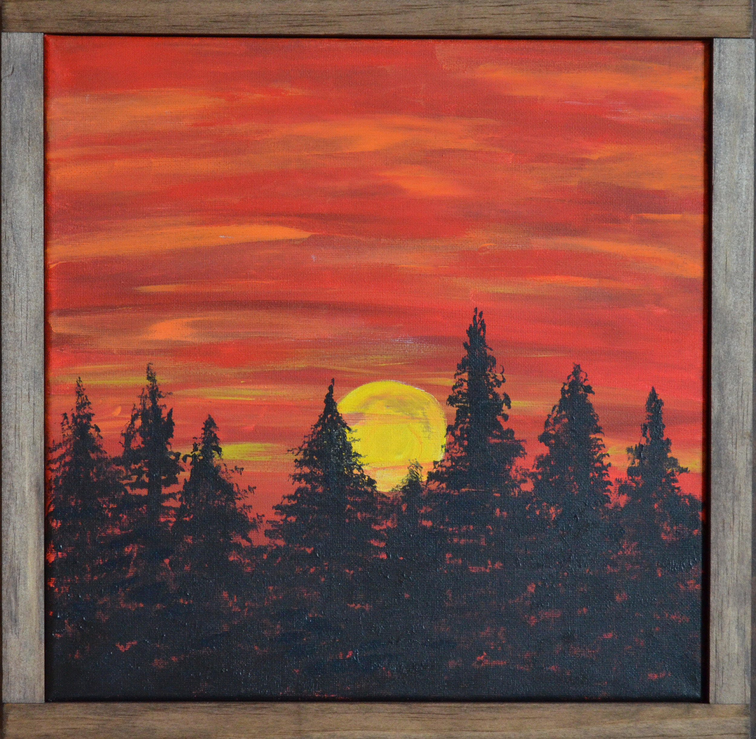 """Red Sky At Night - 2018acrylic paint12x12"""" canvaswood frameSOLD"""