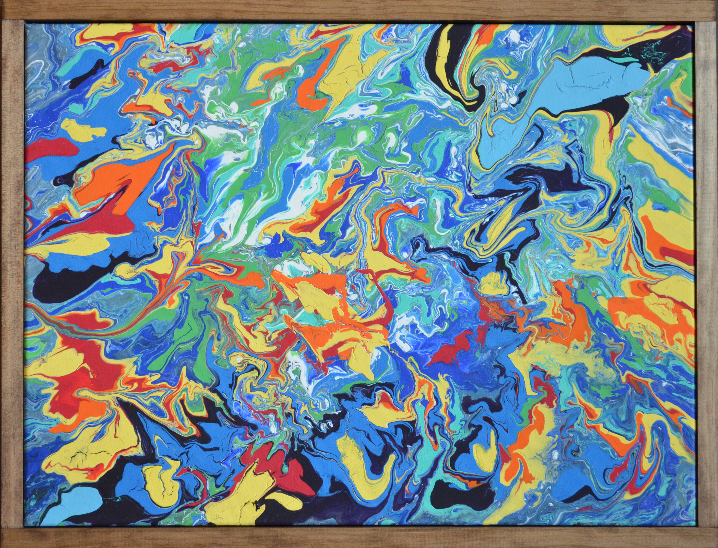 """In Flux - 2019acrylic paint pour18x24"""" canvaswood frameSOLD"""