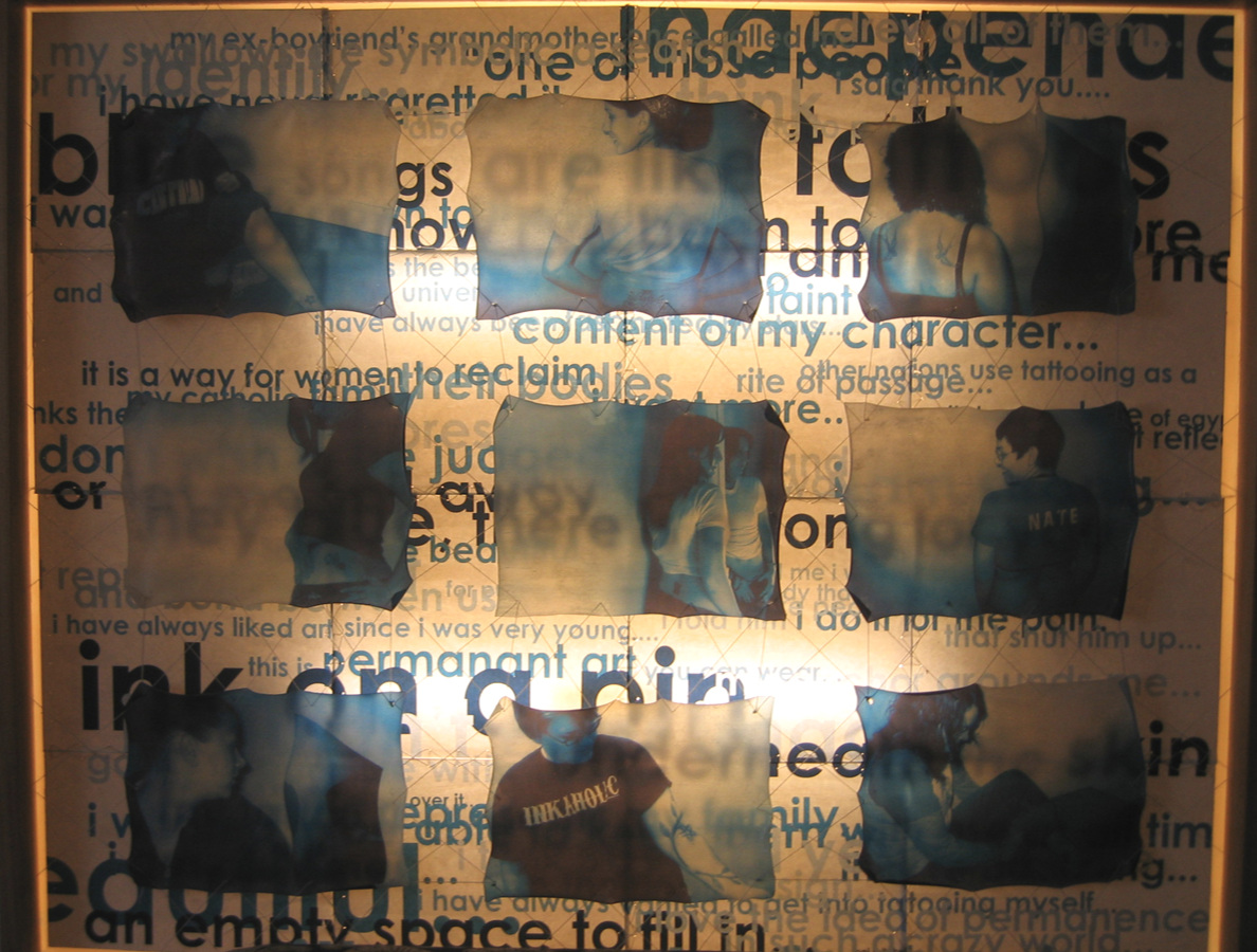 Ink on a Pin - 2005Mixed Media SculptureHand crafted wooden light box, photography, prints transferred to acrylic gel medium, sewn together and suspended with twine, over typography designed from quotes of the nine models. SOLD