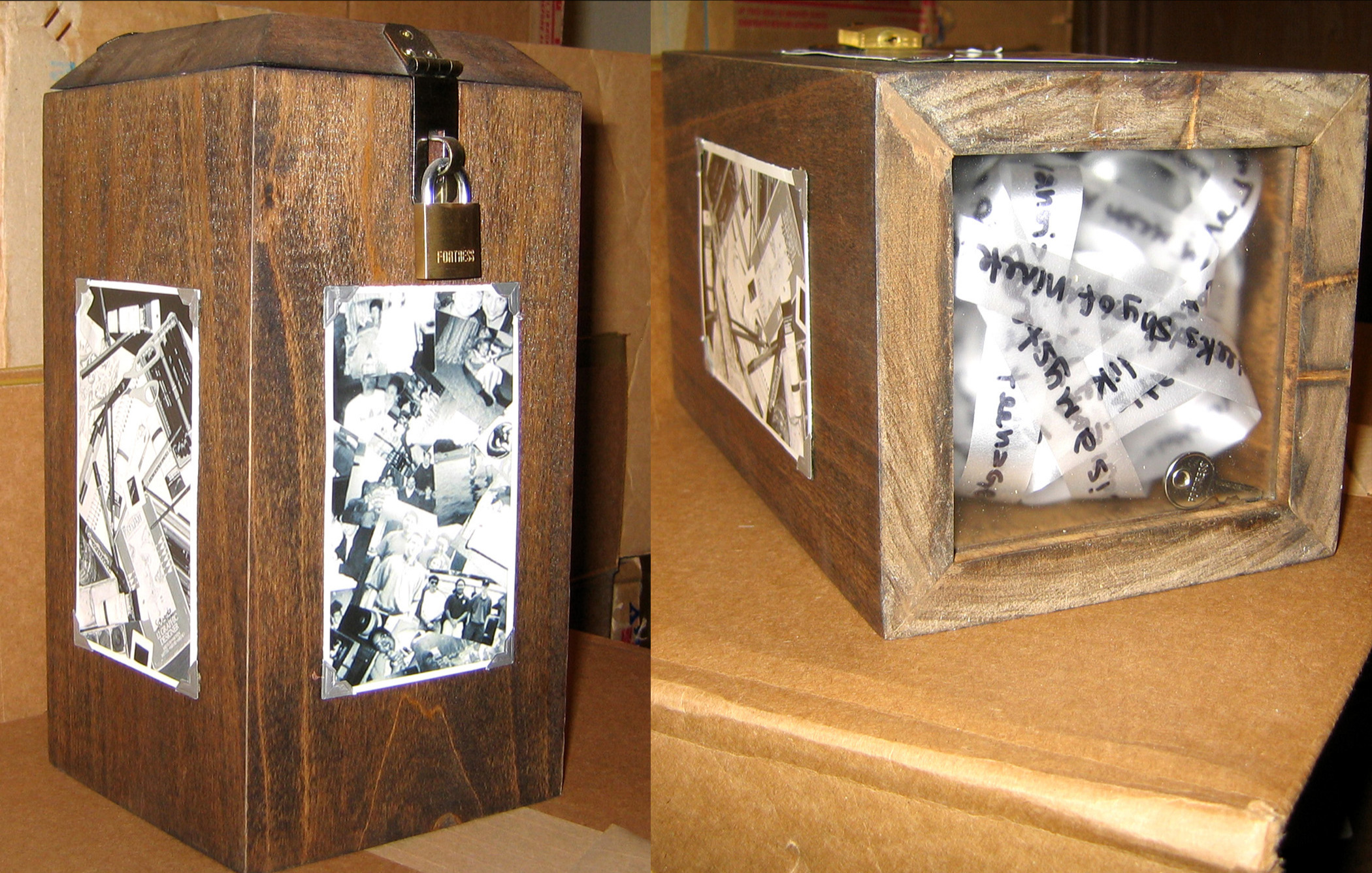 SELF PORTRAIT BOX - 2003Mixed Media - Pine, Plexiglass, Ribbon, Sharpie, Metal Hinges/Lock, PhotosNFS