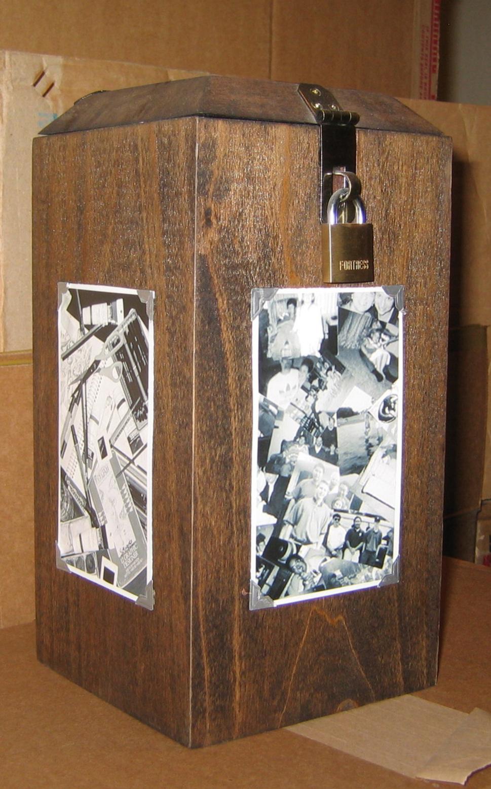 2003 // Central Michigan University Annual Juried Student Exhibition - Mt. Pleasant, MISelf Portrait SculptureMixed Media - Pine, Plexiglass, Ribbon, Sharpie, Metal Hinges/Lock, Photos