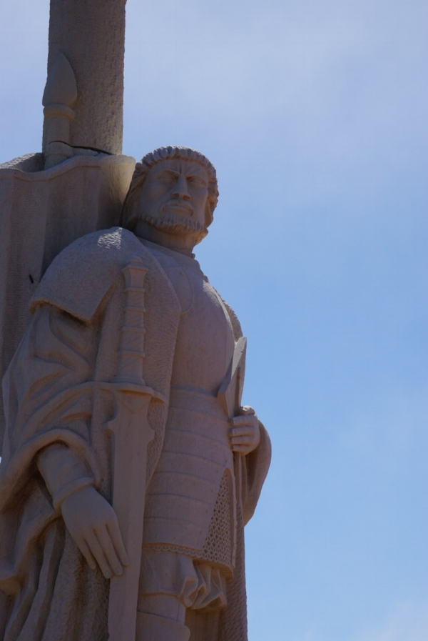 Cabrillo watches over visitors and San Diego Bay.