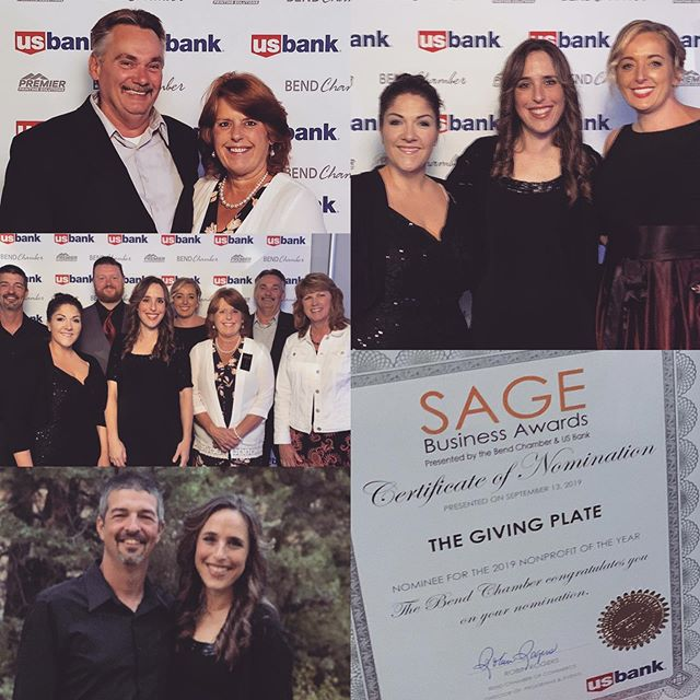 What a fun night last night was at the SAGE Awards! And, what an honor it was to have The Giving Plate be one of the nominated non-profits in attendance. We are so thankful we could be a part of it all. Congrats to NW Home Loans, Pine Mountain Sports, Healthy Beginnings and Redmond Proficiency Academy on their awards. They are all wonderful organizations with fantastic people and their recognition is well deserved. Central Oregon is a great place to live! #sageawards2019 #bendoregon #centraloregon #nominated #nonprofit #thegivingplatebend #fighthunger #feedhope