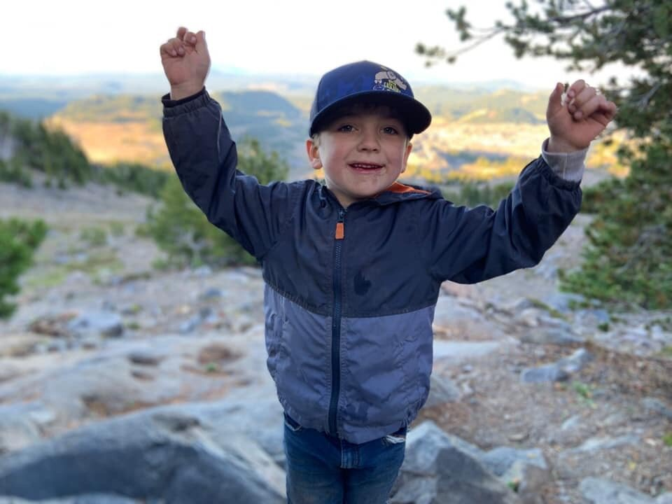 Milo's Hike for Hunger - Five-year-old Bend, Oregon boy hikes South Sisters to feed hungry children in his community in August 2019 and raises $2,229 and feeds 1,115 children through The Giving Plate's Backpacks for Bend program.