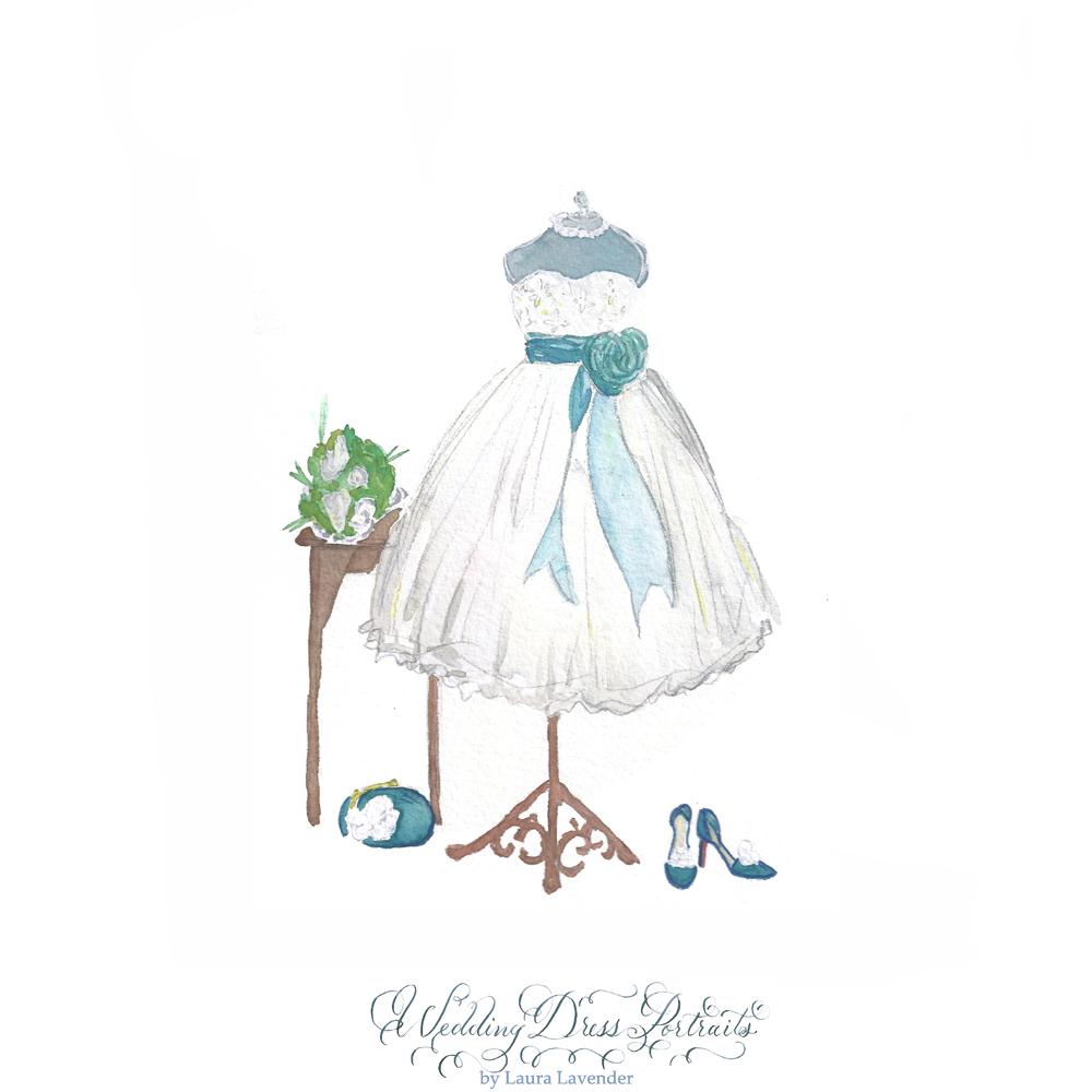 wedding dress Painting tea lenght