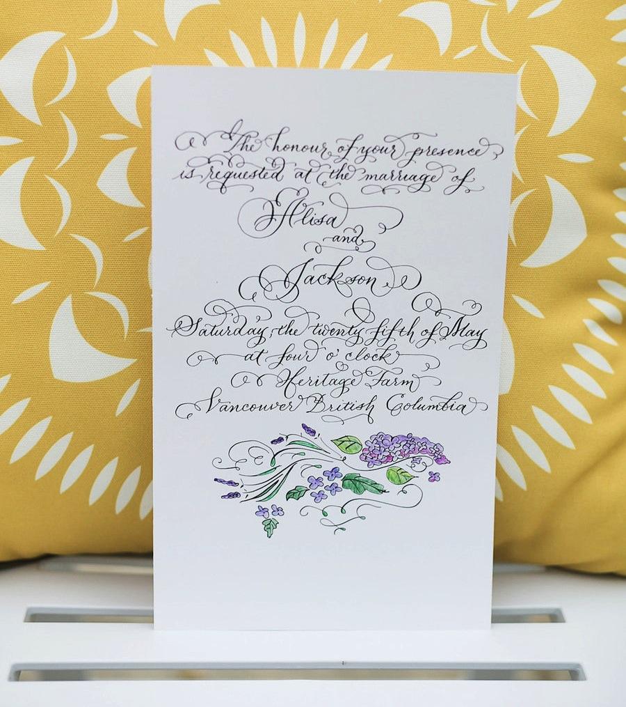 LAURA LAVENDER CALLIGRAPHY WEDDING INVITATION