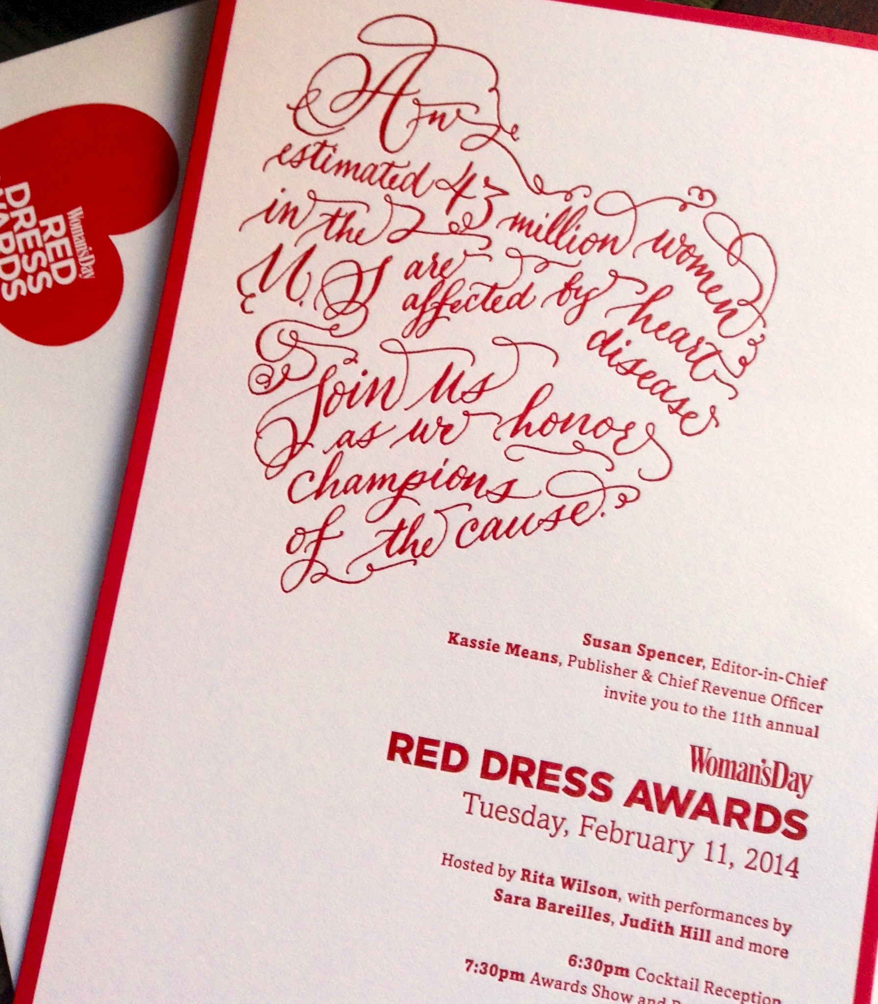 Calligraphy Heart Invitation for Woman's Day Magazine + Red Dress Awards